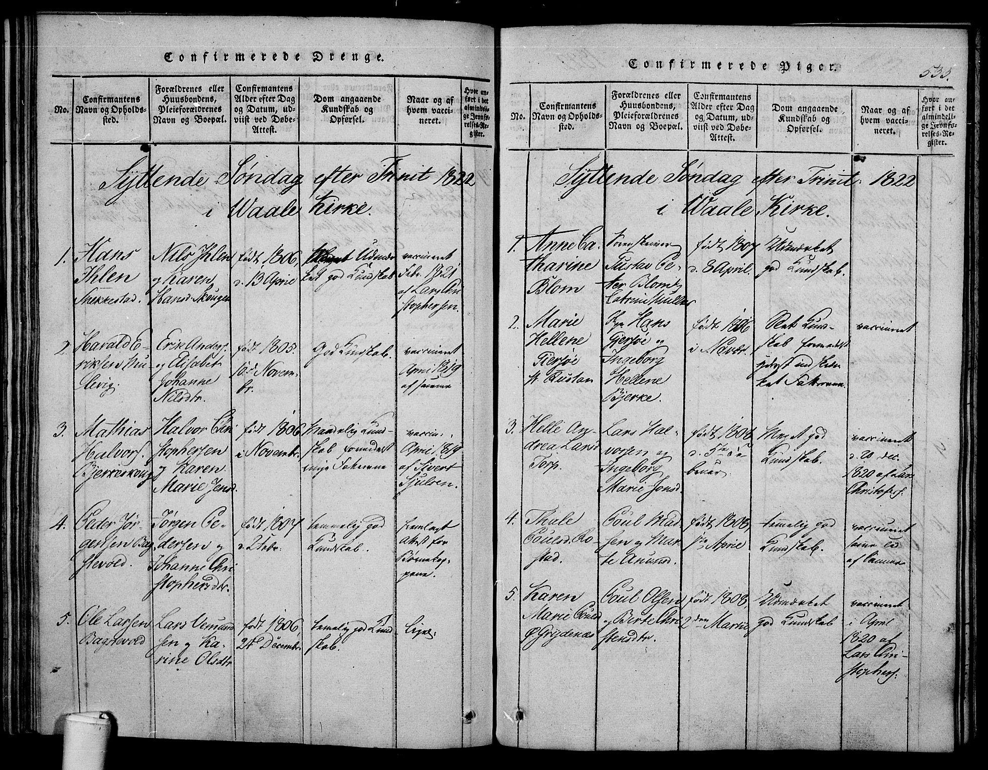 SAKO, Våle kirkebøker, F/Fa/L0007: Ministerialbok nr. I 7, 1814-1824, s. 532-533