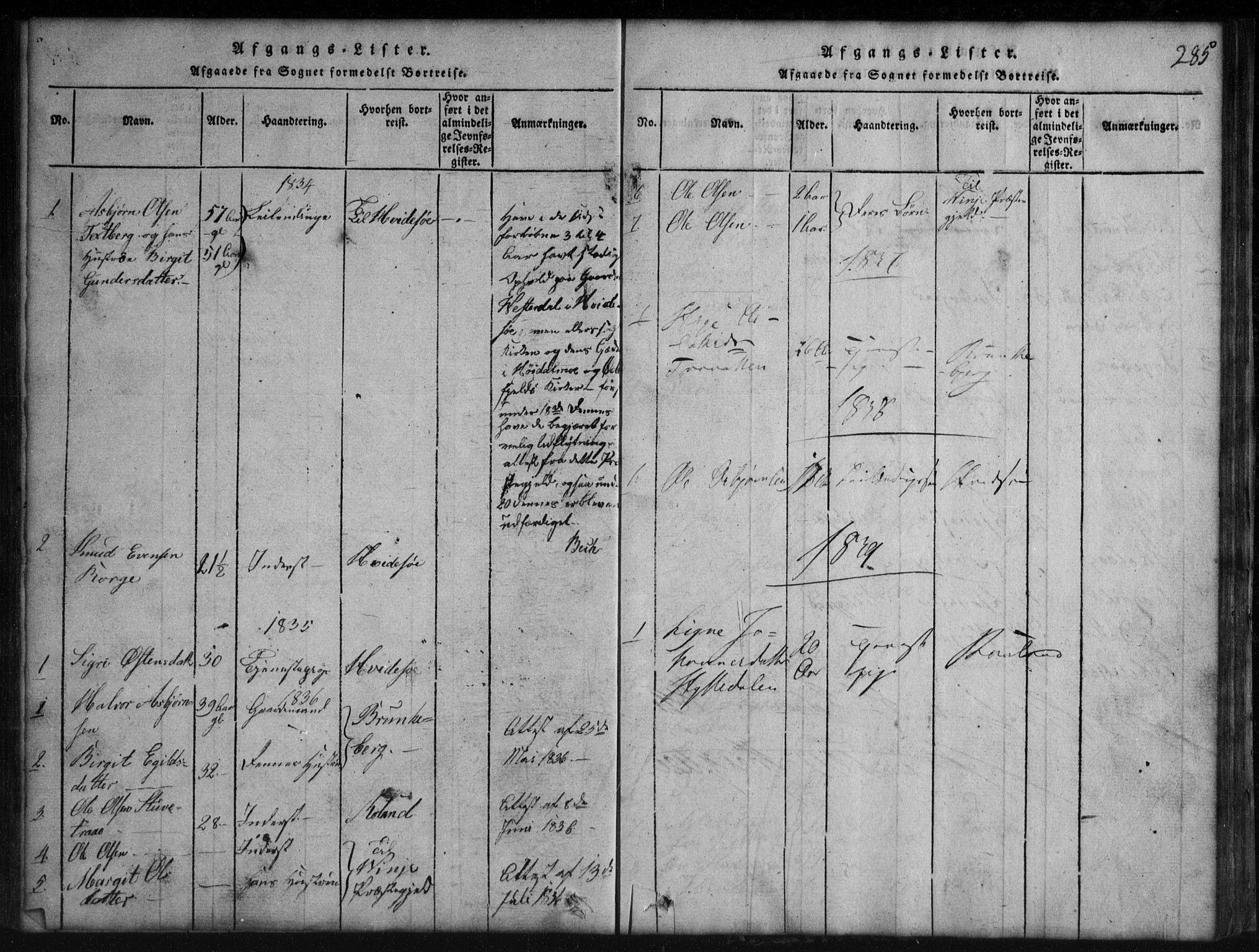 SAKO, Rauland kirkebøker, G/Gb/L0001: Klokkerbok nr. II 1, 1815-1886, s. 285