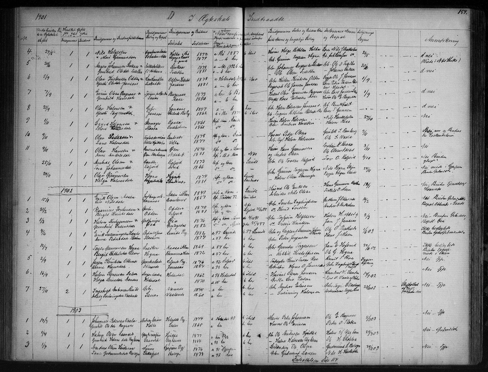 SAKO, Sauherad kirkebøker, G/Ga/L0003: Klokkerbok nr. I 3, 1866-1905, s. 154