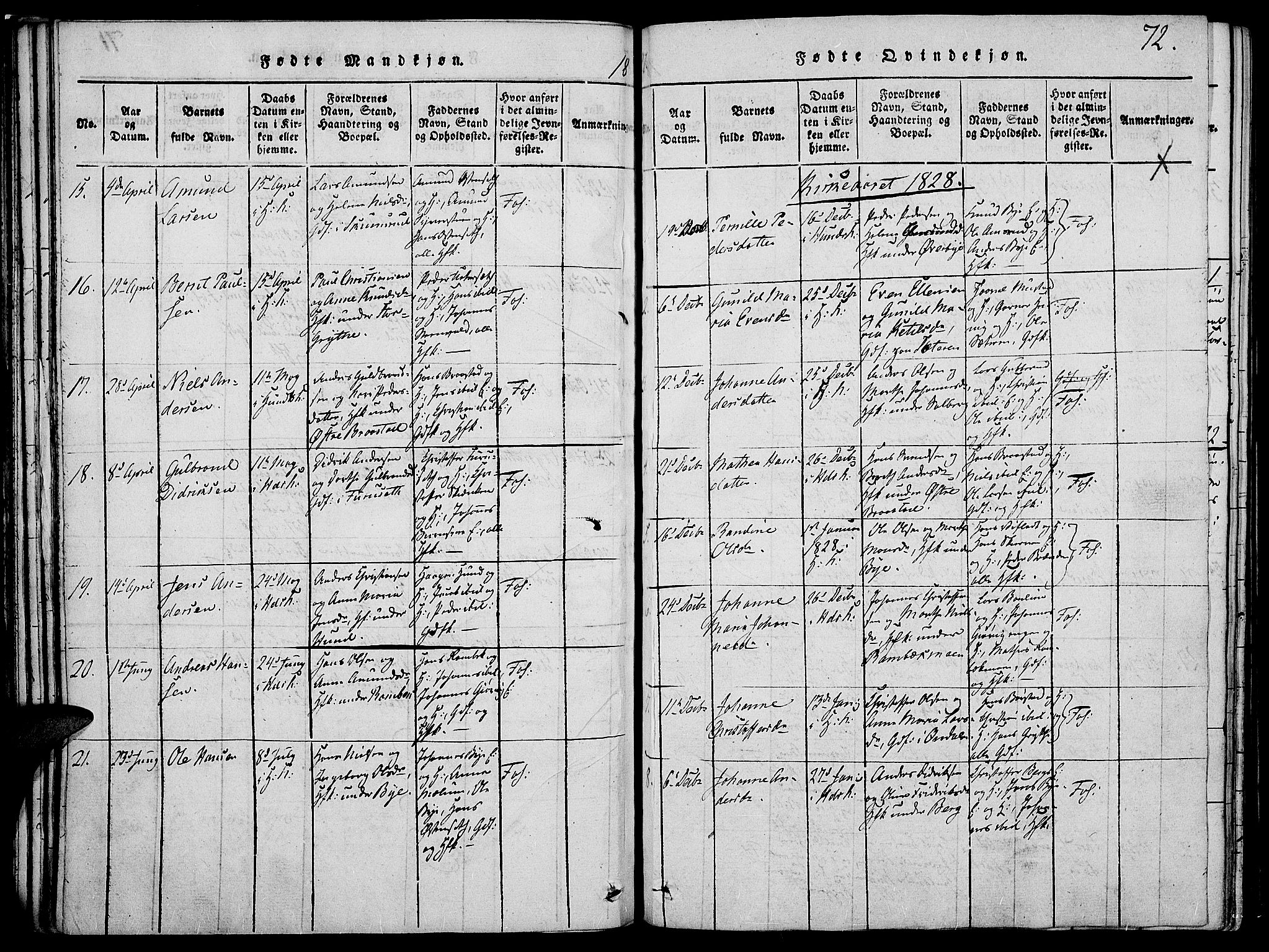 SAH, Vardal prestekontor, H/Ha/Haa/L0004: Ministerialbok nr. 4, 1814-1831, s. 72
