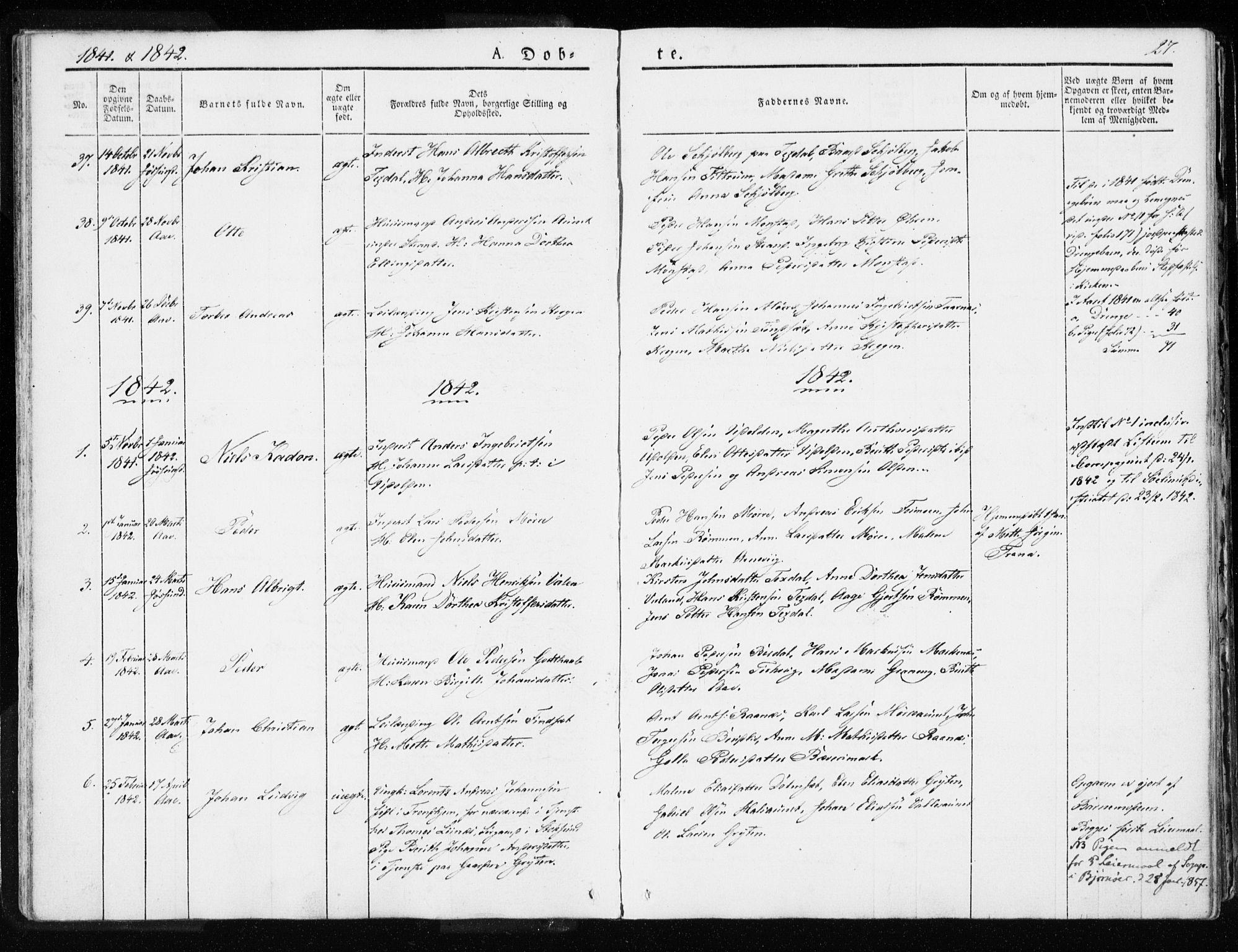 SAT, Ministerialprotokoller, klokkerbøker og fødselsregistre - Sør-Trøndelag, 655/L0676: Ministerialbok nr. 655A05, 1830-1847, s. 27