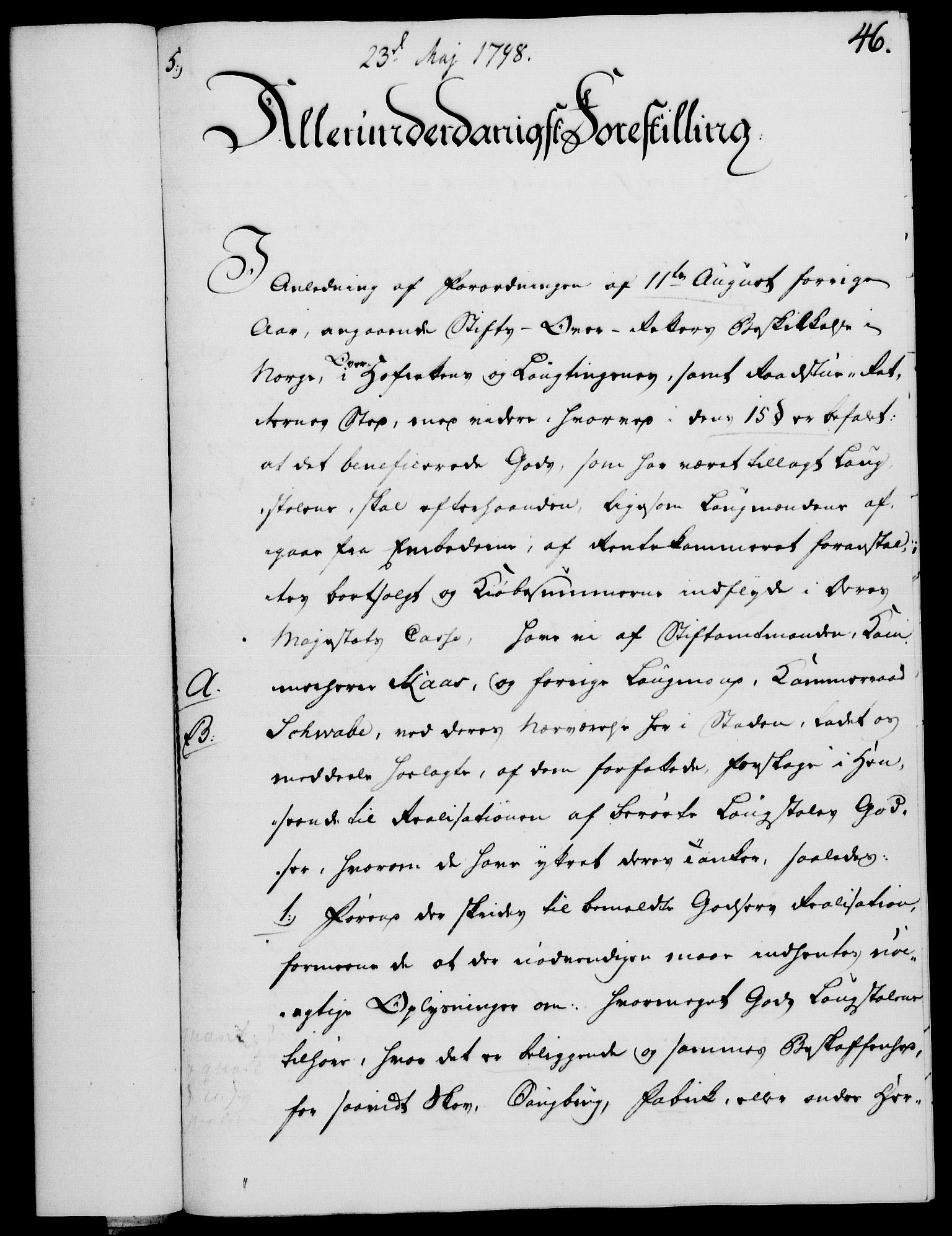 RA, Rentekammeret, Kammerkanselliet, G/Gf/Gfa/L0080: Norsk relasjons- og resolusjonsprotokoll (merket RK 52.80), 1798, s. 335