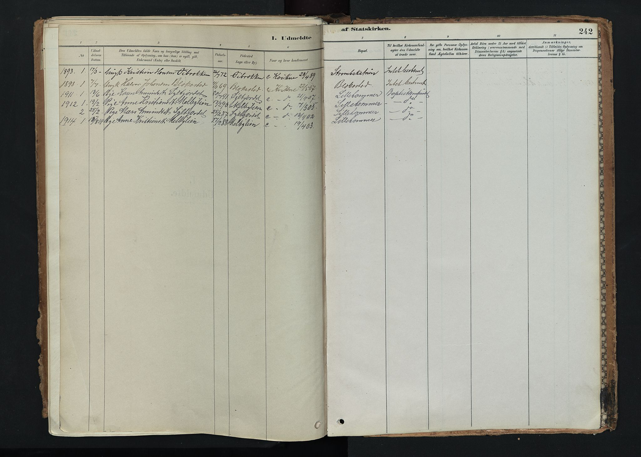 SAH, Nord-Fron prestekontor, Ministerialbok nr. 5, 1884-1914, s. 242