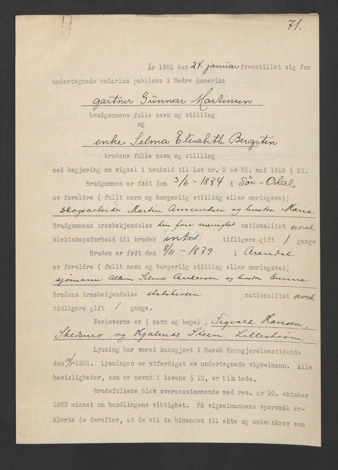 SAO, Nedre Romerike sorenskriveri, L/Lb/L0001: Vigselsbok - borgerlige vielser, 1920-1935, s. upaginert
