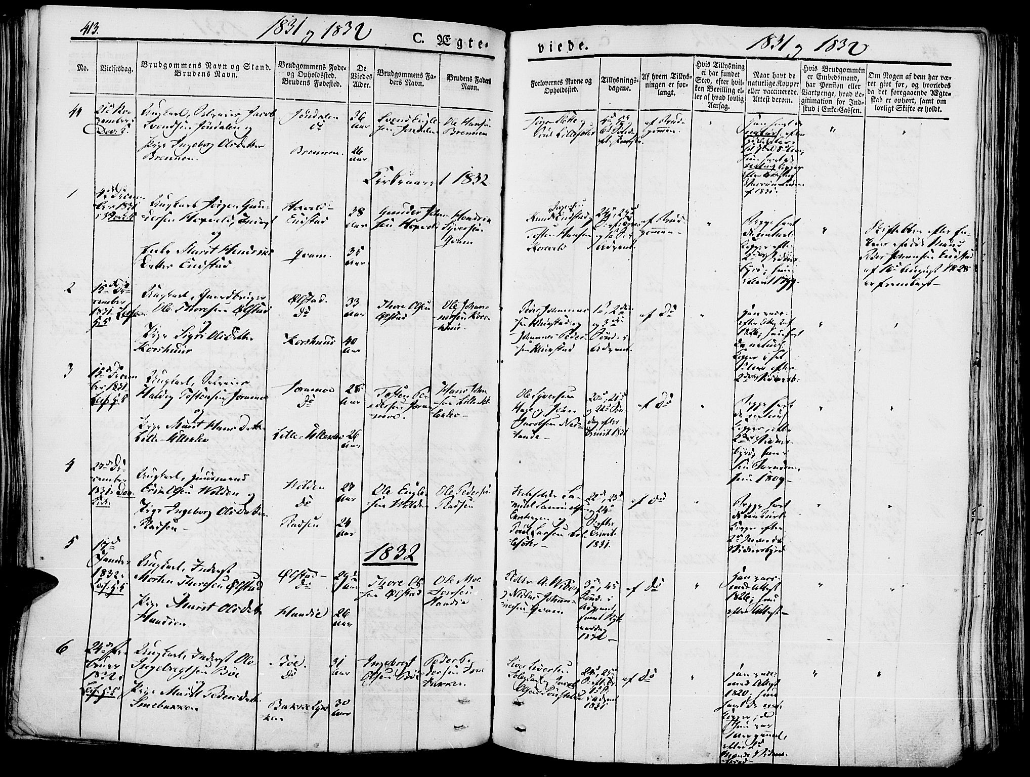 SAH, Lesja prestekontor, Ministerialbok nr. 5, 1830-1842, s. 413