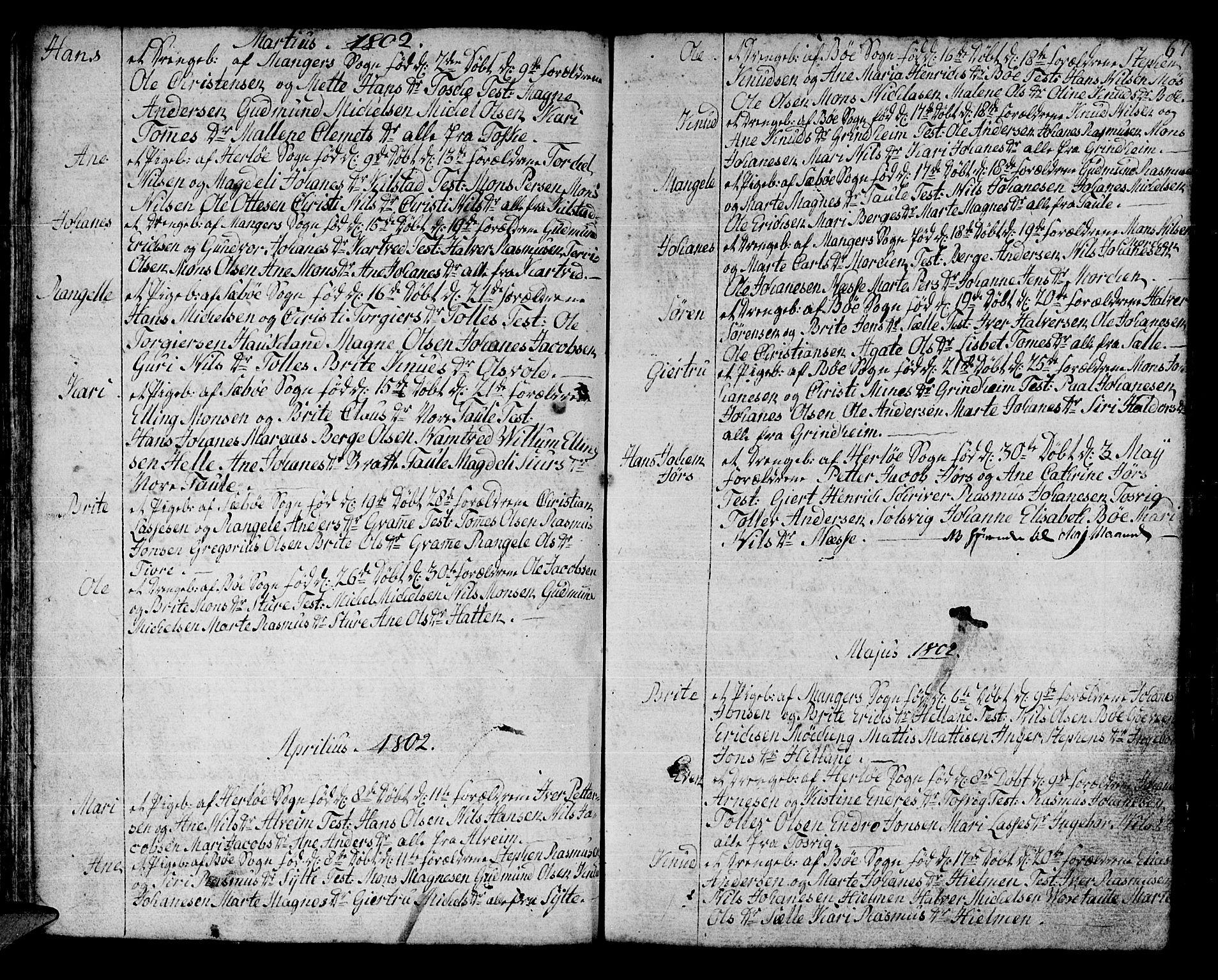 SAB, Manger sokneprestembete, H/Haa: Ministerialbok nr. A 2, 1792-1815, s. 67