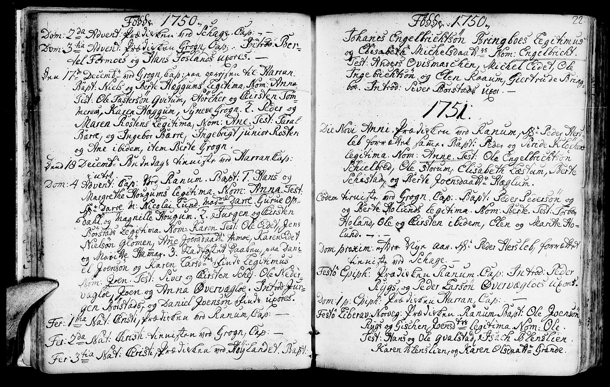 SAT, Ministerialprotokoller, klokkerbøker og fødselsregistre - Nord-Trøndelag, 764/L0542: Ministerialbok nr. 764A02, 1748-1779, s. 22