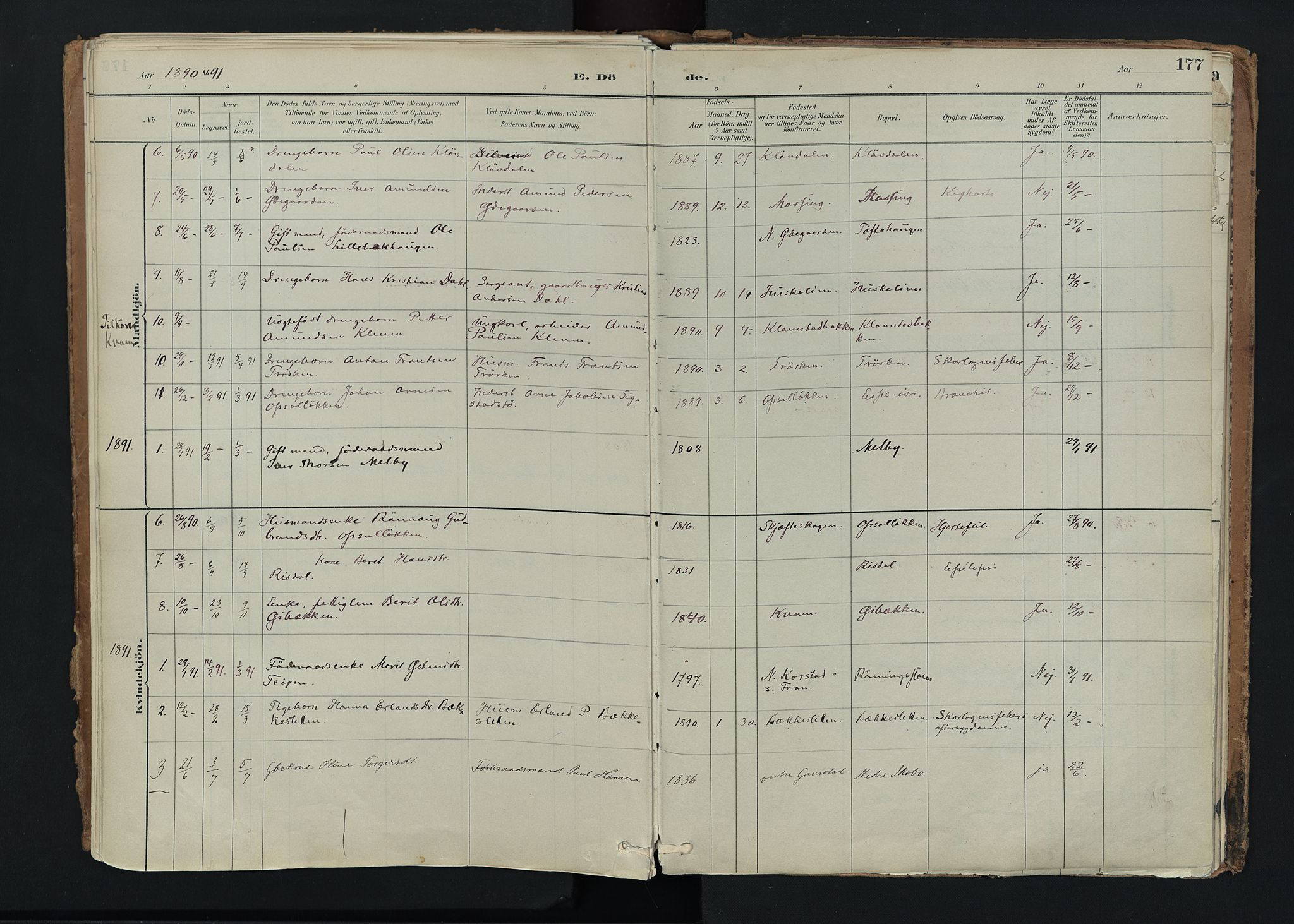 SAH, Nord-Fron prestekontor, Ministerialbok nr. 5, 1884-1914, s. 177