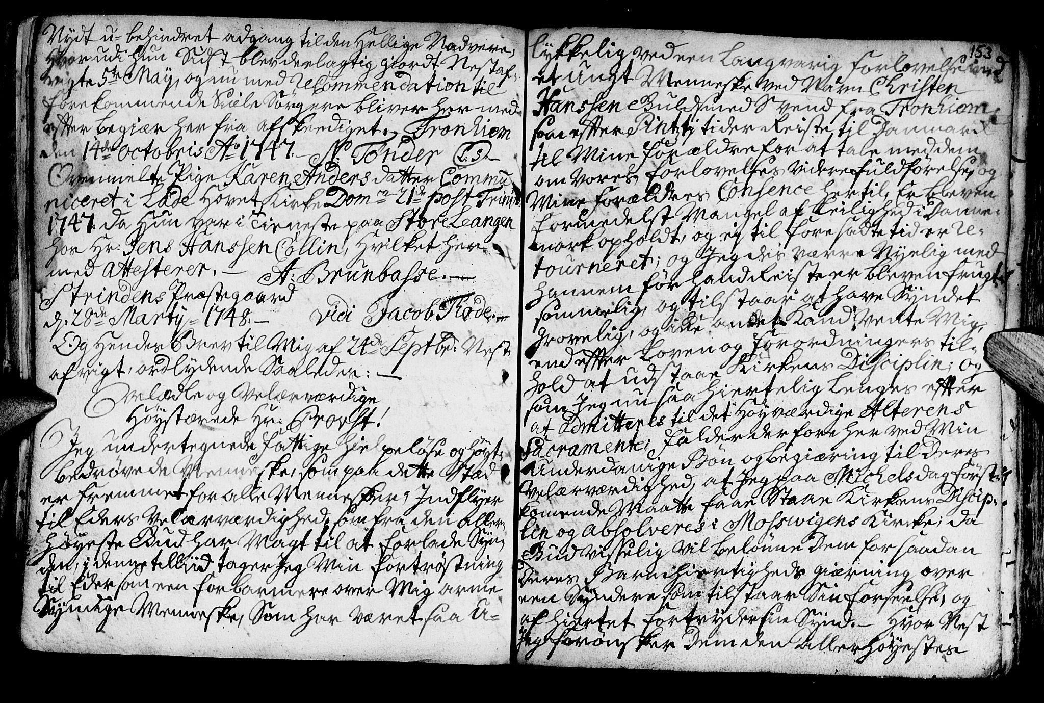 SAT, Ministerialprotokoller, klokkerbøker og fødselsregistre - Nord-Trøndelag, 722/L0215: Ministerialbok nr. 722A02, 1718-1755, s. 153