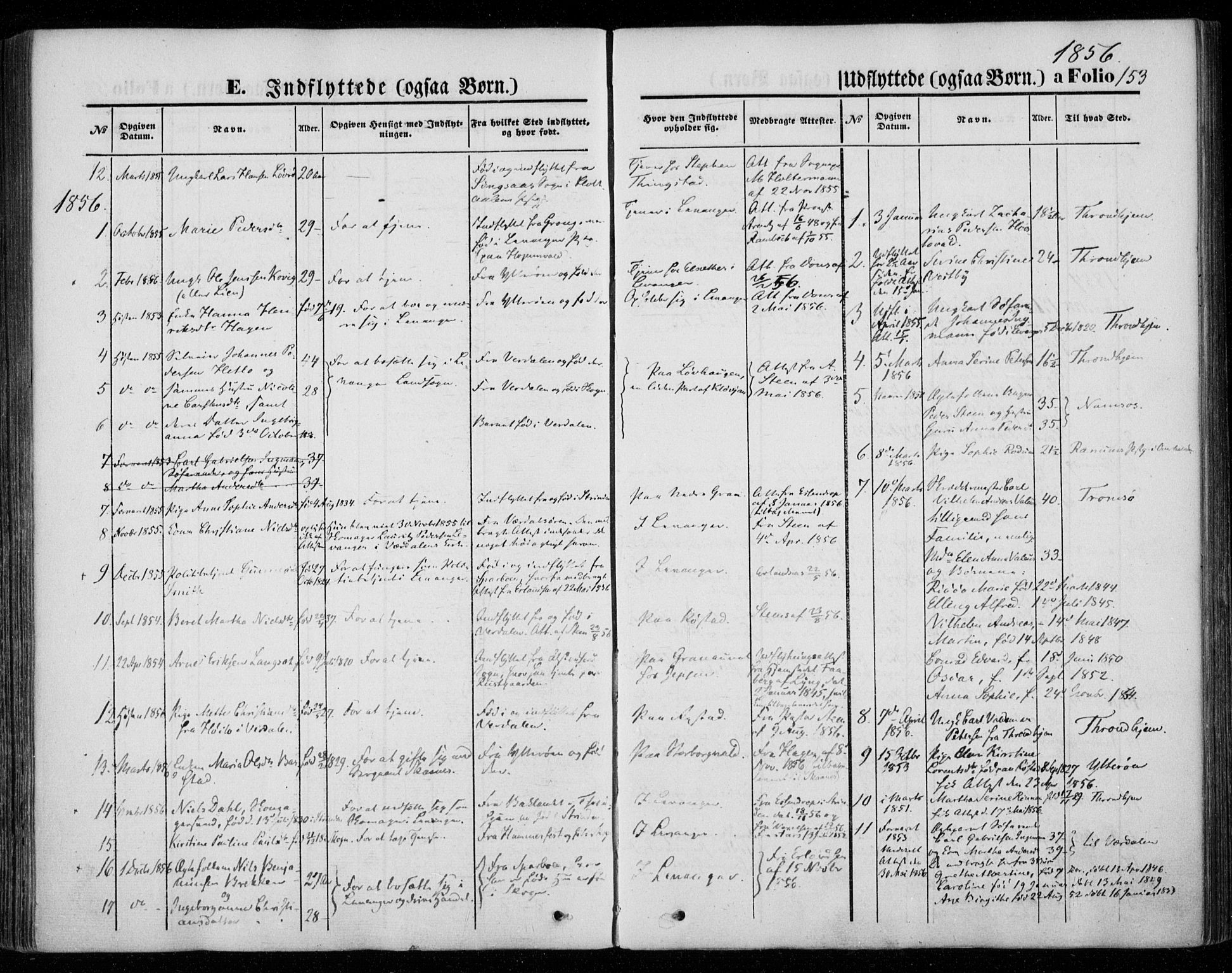 SAT, Ministerialprotokoller, klokkerbøker og fødselsregistre - Nord-Trøndelag, 720/L0184: Ministerialbok nr. 720A02 /1, 1855-1863, s. 153