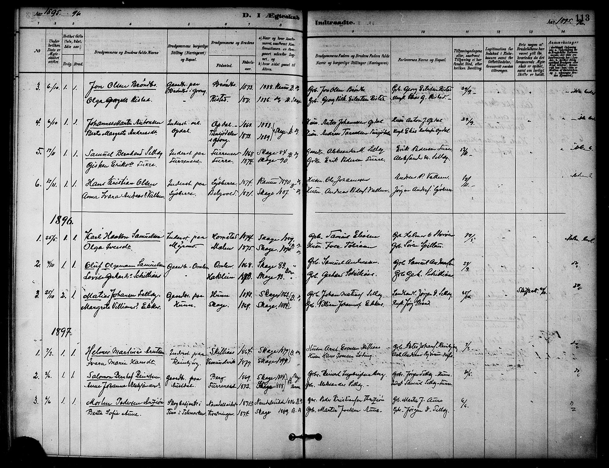 SAT, Ministerialprotokoller, klokkerbøker og fødselsregistre - Nord-Trøndelag, 766/L0563: Ministerialbok nr. 767A01, 1881-1899, s. 113