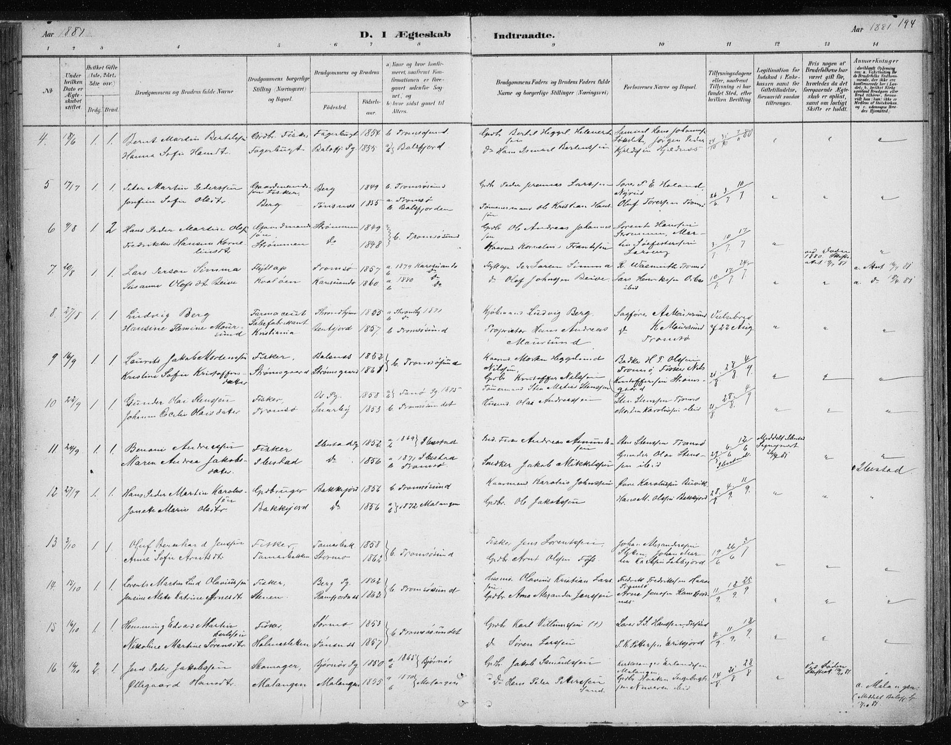 SATØ, Tromsøysund sokneprestkontor, G/Ga/L0004kirke: Ministerialbok nr. 4, 1880-1888, s. 194