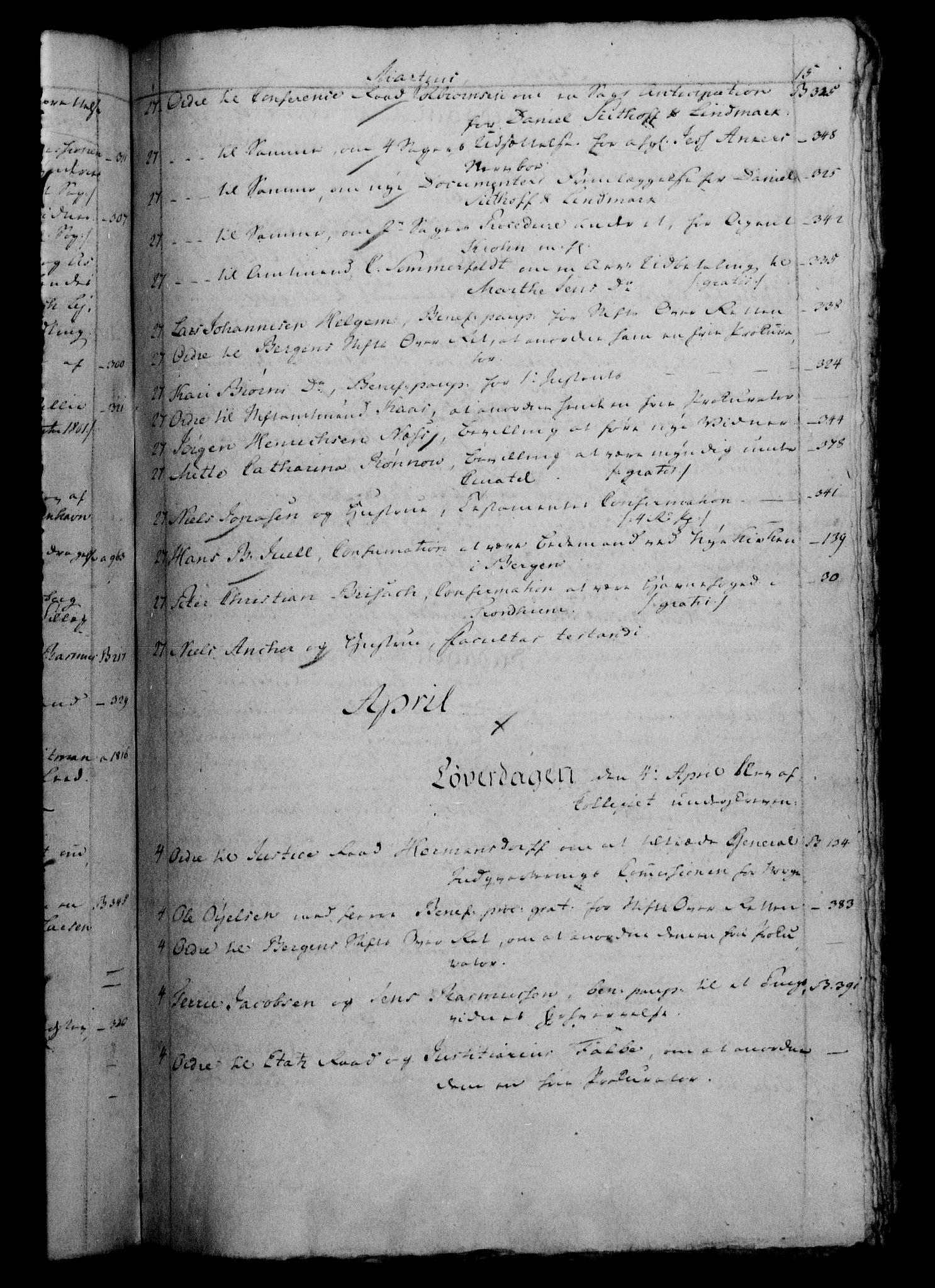 RA, Danske Kanselli 1800-1814, H/Hf/Hfb/Hfbc/L0002: Underskrivelsesbok m. register, 1801, s. 15