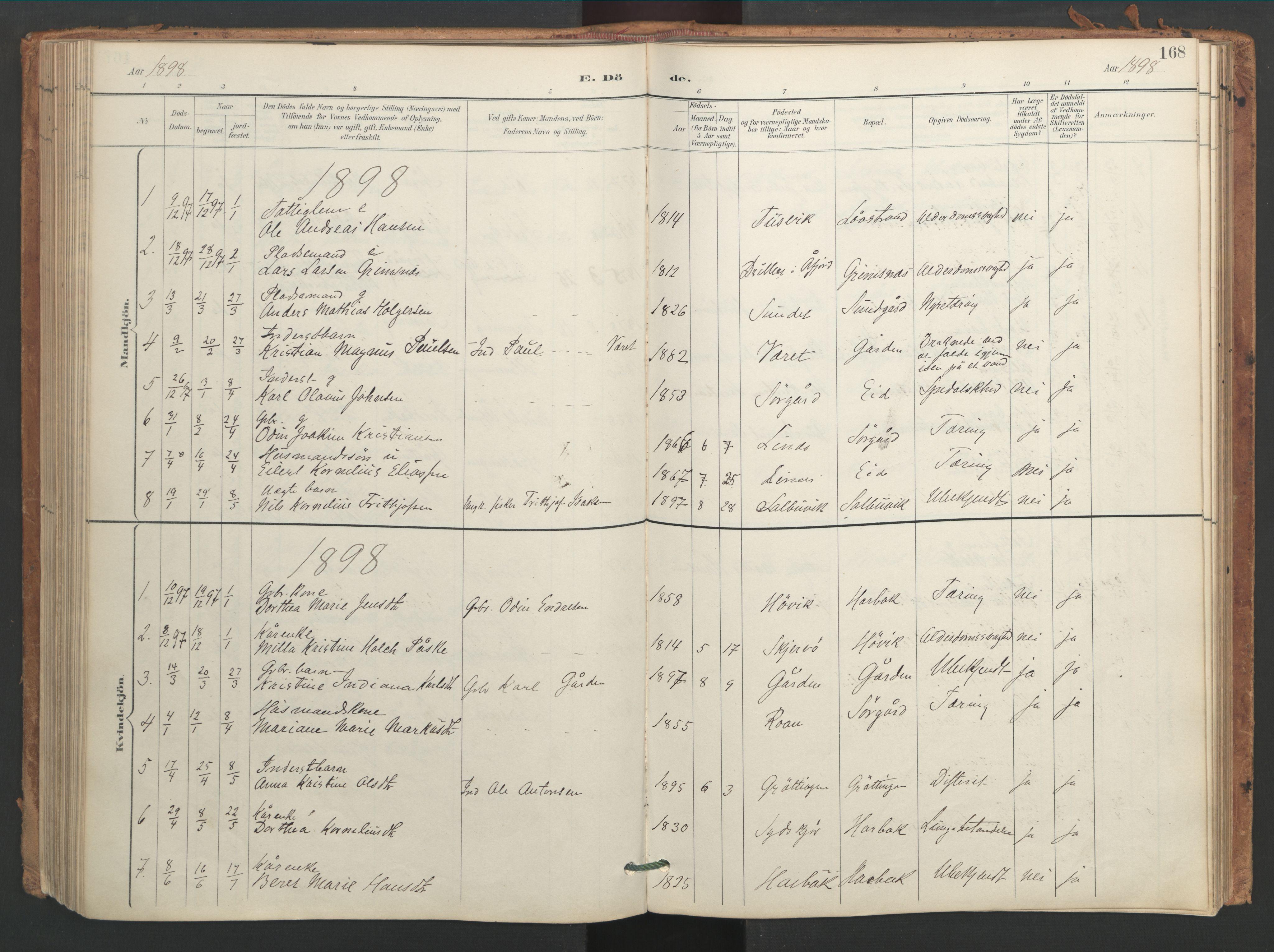 SAT, Ministerialprotokoller, klokkerbøker og fødselsregistre - Sør-Trøndelag, 656/L0693: Ministerialbok nr. 656A02, 1894-1913, s. 168