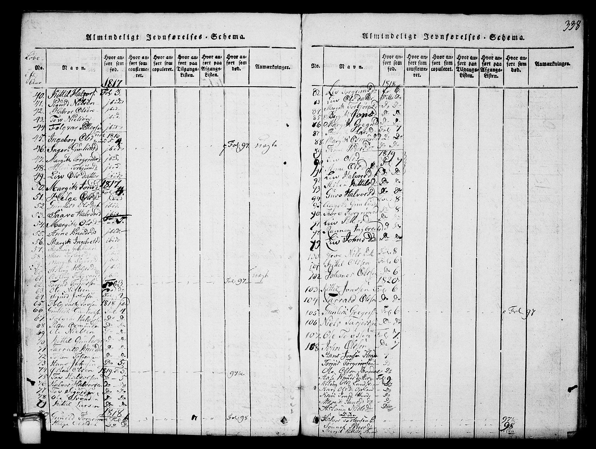 SAKO, Hjartdal kirkebøker, G/Gc/L0001: Klokkerbok nr. III 1, 1815-1842, s. 338