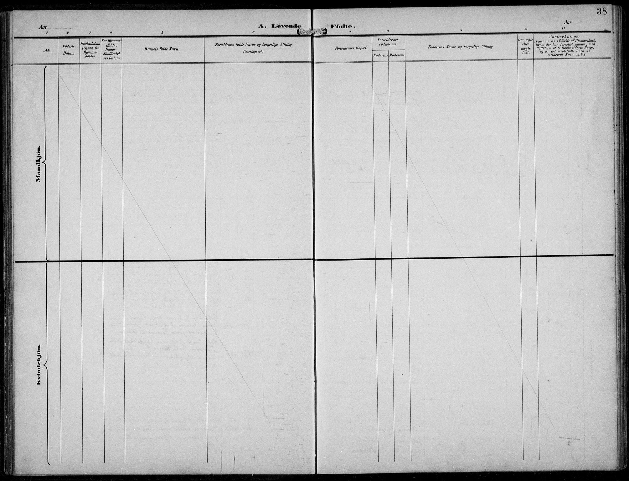 SAB, Aurland Sokneprestembete*, Klokkerbok nr. A 3, 1896-1939, s. 38