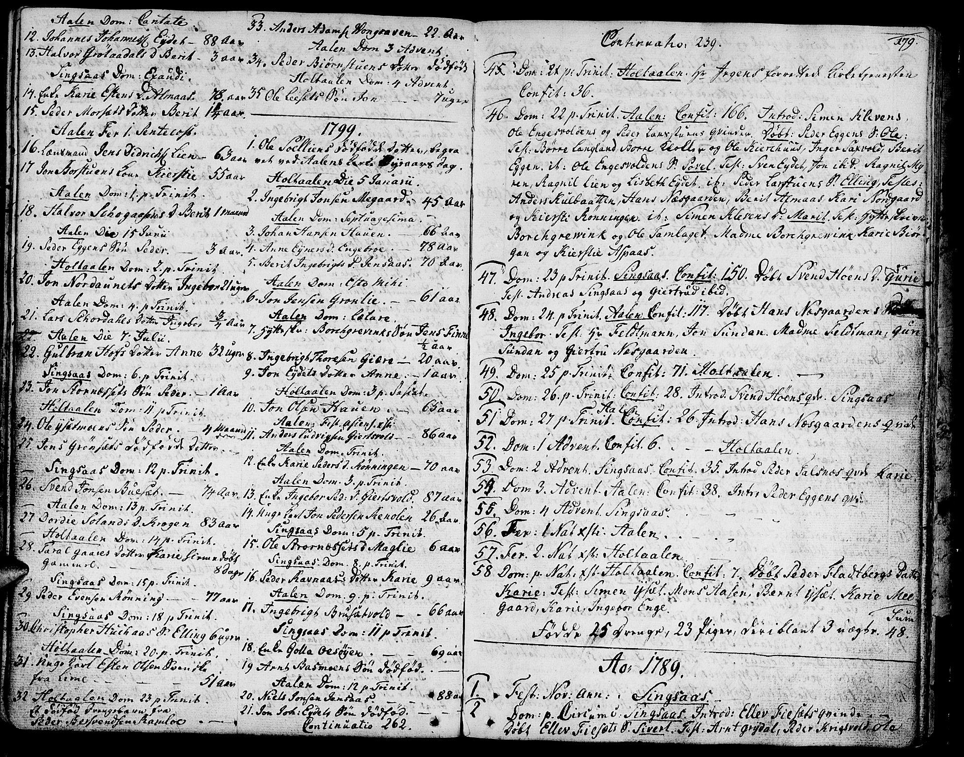 SAT, Ministerialprotokoller, klokkerbøker og fødselsregistre - Sør-Trøndelag, 685/L0952: Ministerialbok nr. 685A01, 1745-1804, s. 179