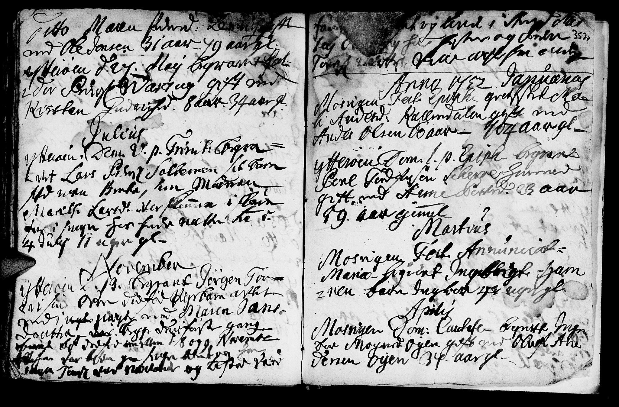 SAT, Ministerialprotokoller, klokkerbøker og fødselsregistre - Nord-Trøndelag, 722/L0215: Ministerialbok nr. 722A02, 1718-1755, s. 352