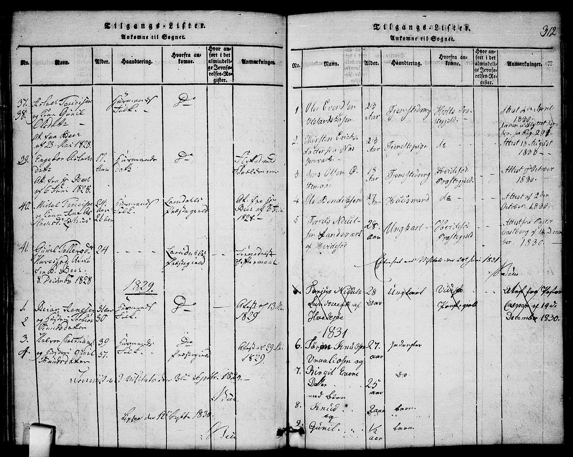 SAKO, Mo kirkebøker, G/Gb/L0001: Klokkerbok nr. II 1, 1814-1843, s. 312