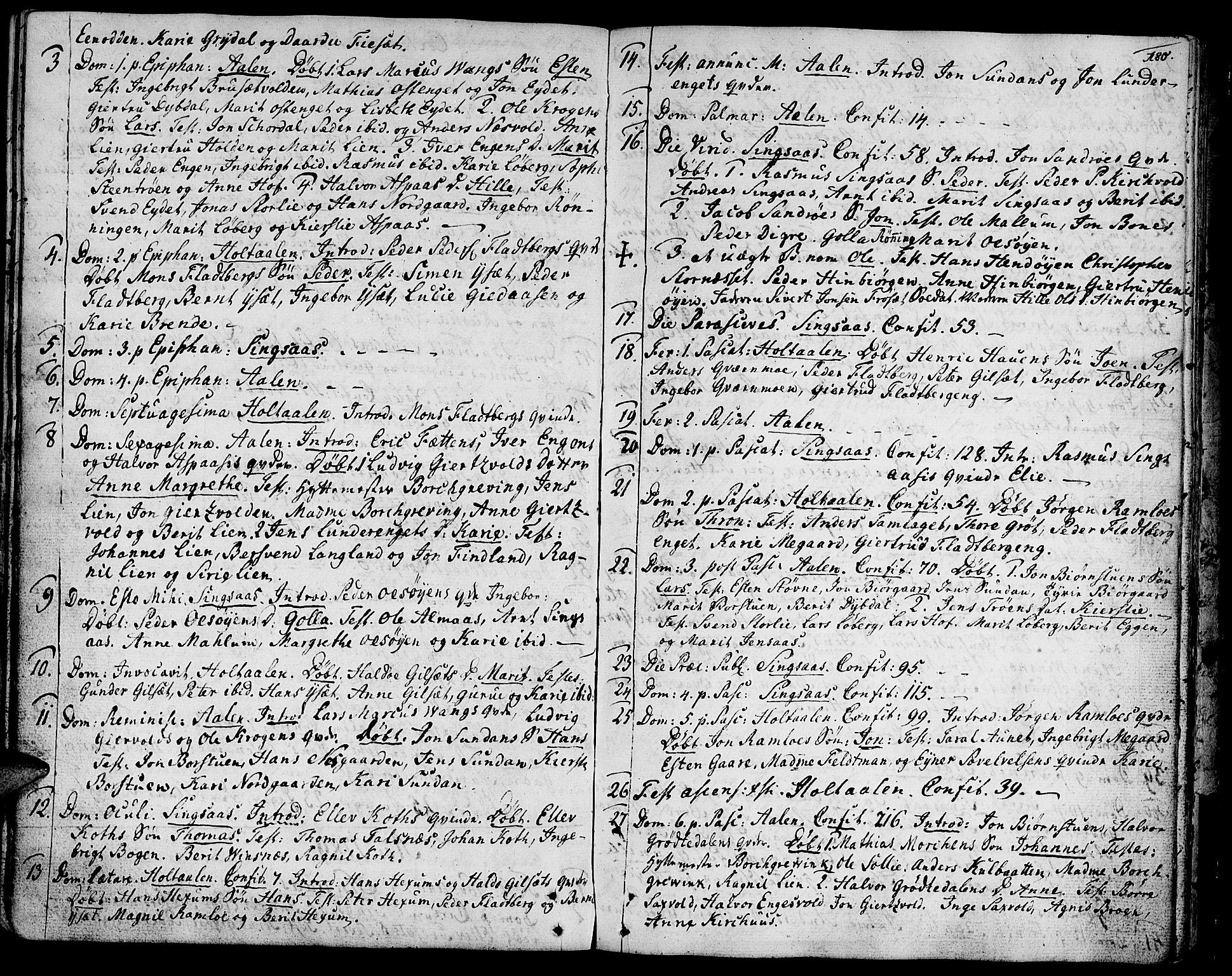 SAT, Ministerialprotokoller, klokkerbøker og fødselsregistre - Sør-Trøndelag, 685/L0952: Ministerialbok nr. 685A01, 1745-1804, s. 180