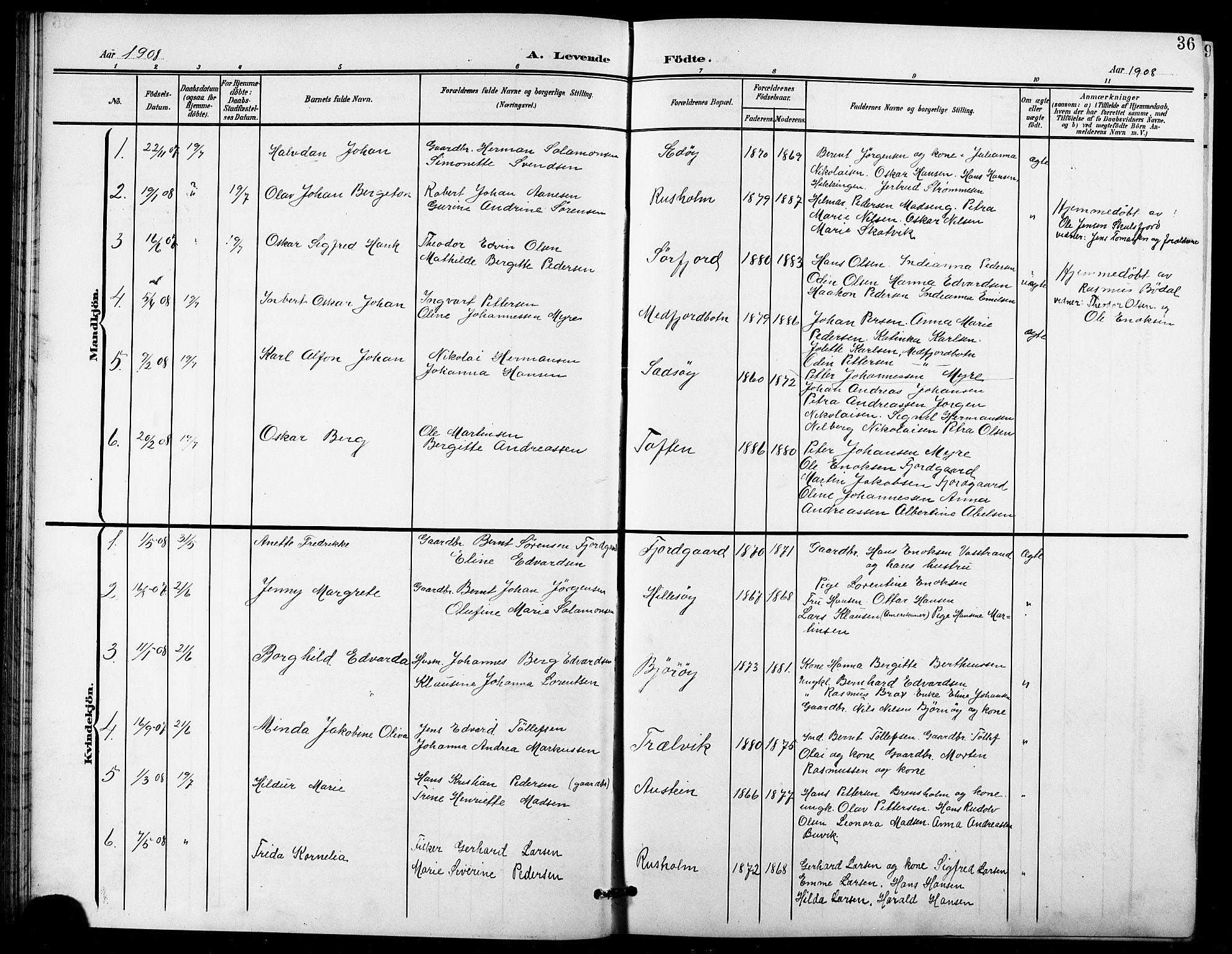 SATØ, Lenvik sokneprestembete, H/Ha: Klokkerbok nr. 22, 1901-1918, s. 36