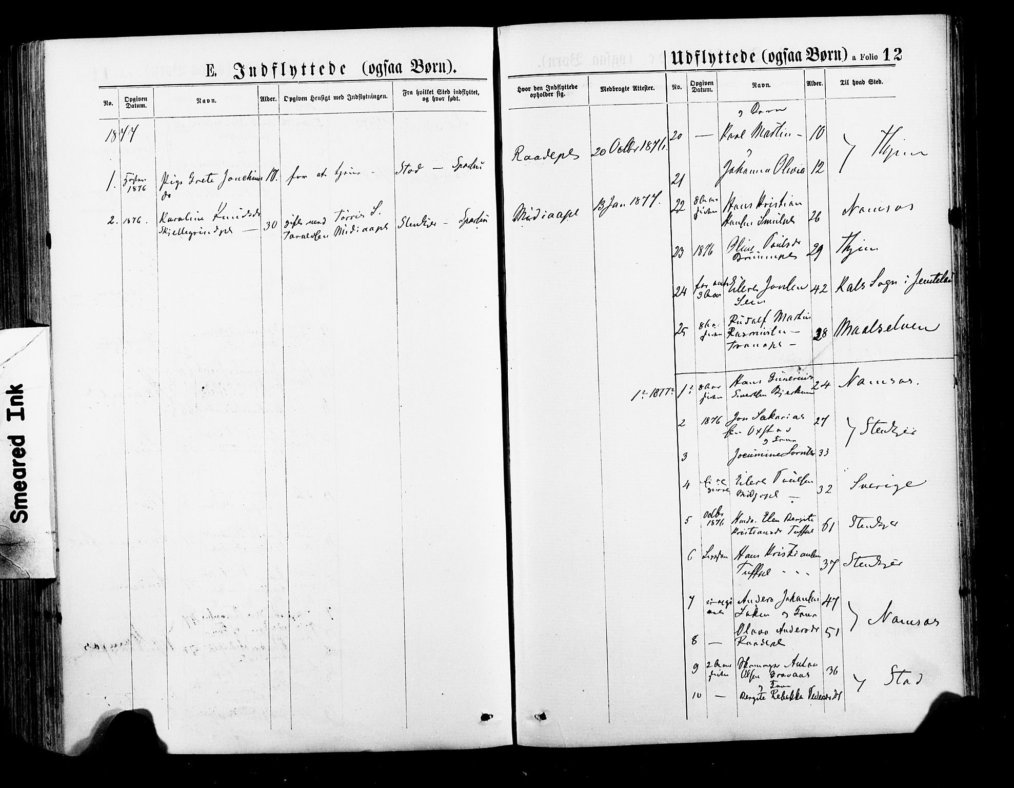SAT, Ministerialprotokoller, klokkerbøker og fødselsregistre - Nord-Trøndelag, 735/L0348: Ministerialbok nr. 735A09 /1, 1873-1883, s. 12