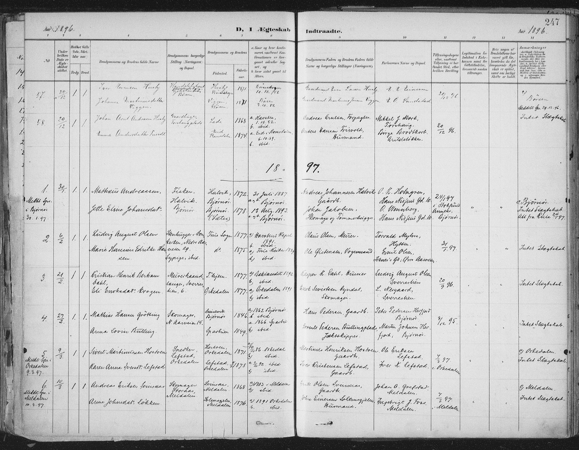 SAT, Ministerialprotokoller, klokkerbøker og fødselsregistre - Sør-Trøndelag, 603/L0167: Ministerialbok nr. 603A06, 1896-1932, s. 247