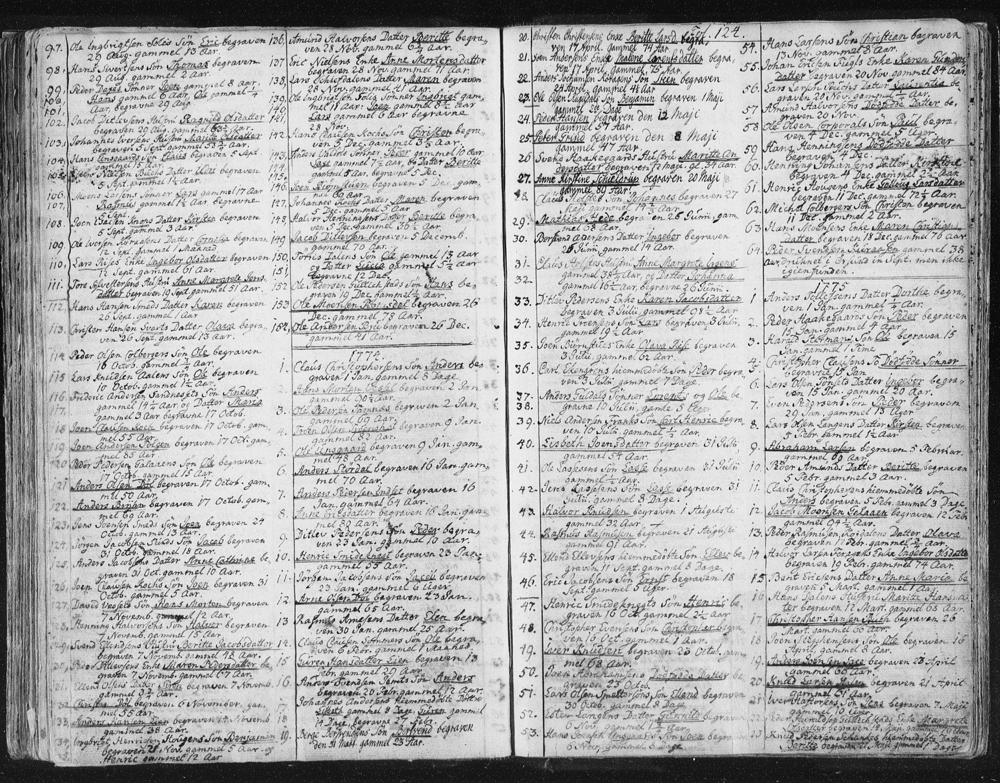 SAT, Ministerialprotokoller, klokkerbøker og fødselsregistre - Sør-Trøndelag, 681/L0926: Ministerialbok nr. 681A04, 1767-1797, s. 124