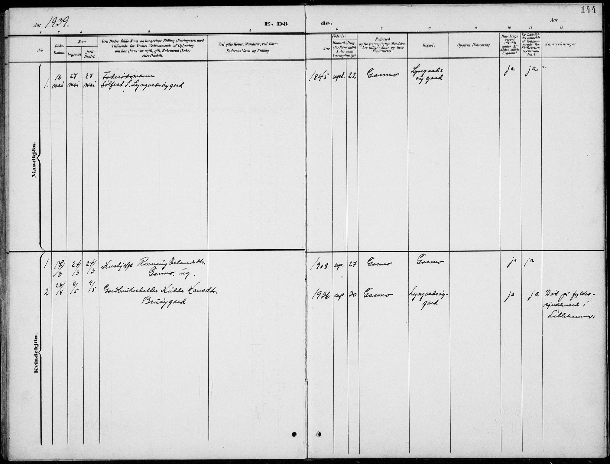 SAH, Lom prestekontor, L/L0006: Klokkerbok nr. 6, 1901-1939, s. 144