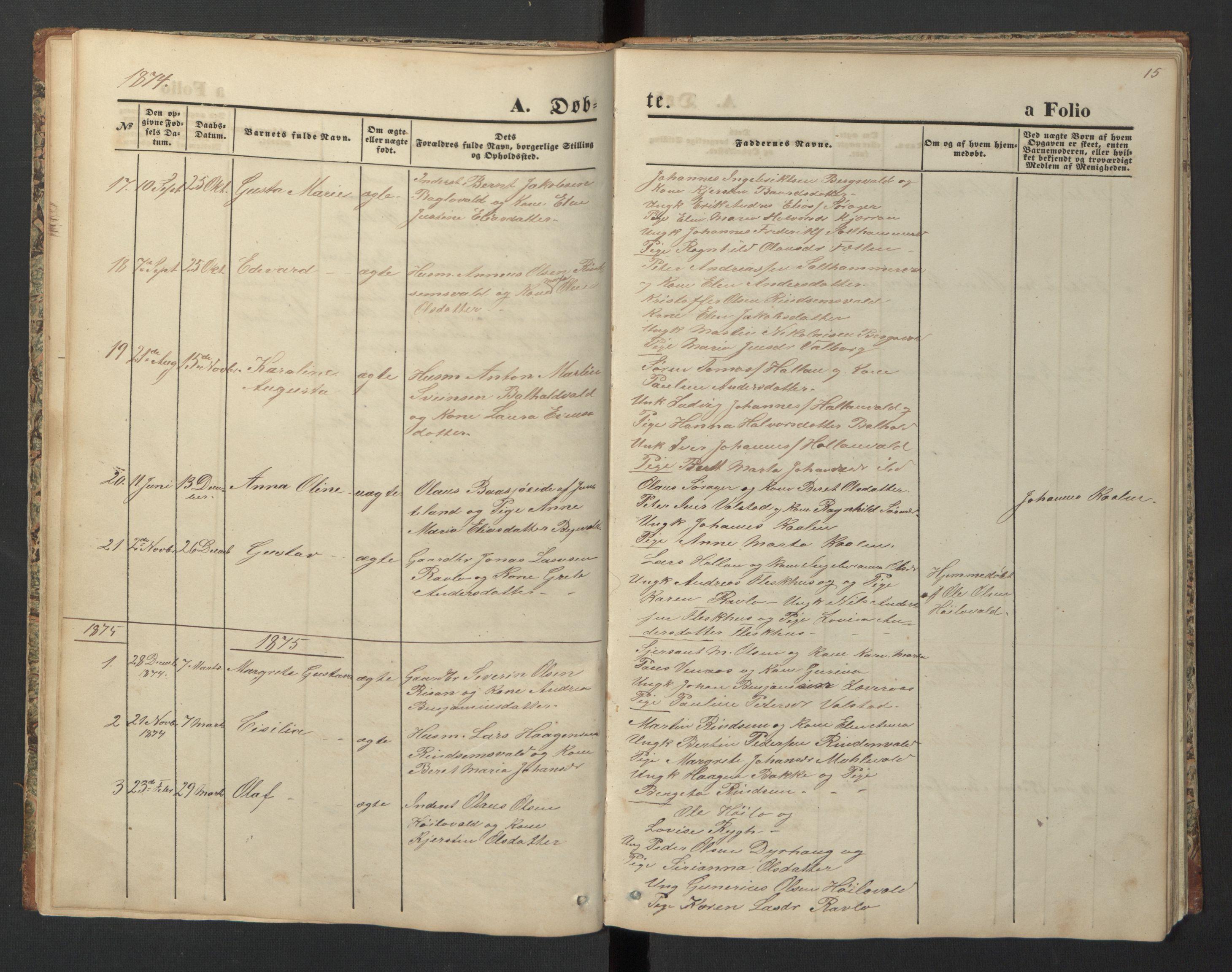 SAT, Ministerialprotokoller, klokkerbøker og fødselsregistre - Nord-Trøndelag, 726/L0271: Klokkerbok nr. 726C02, 1869-1897, s. 15