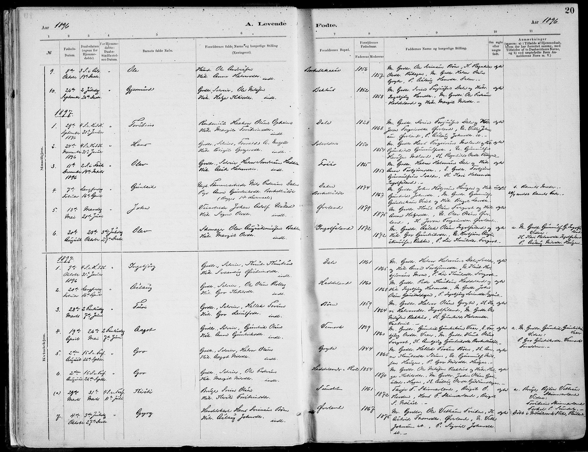 SAKO, Rjukan kirkebøker, F/Fa/L0001: Ministerialbok nr. 1, 1878-1912, s. 20