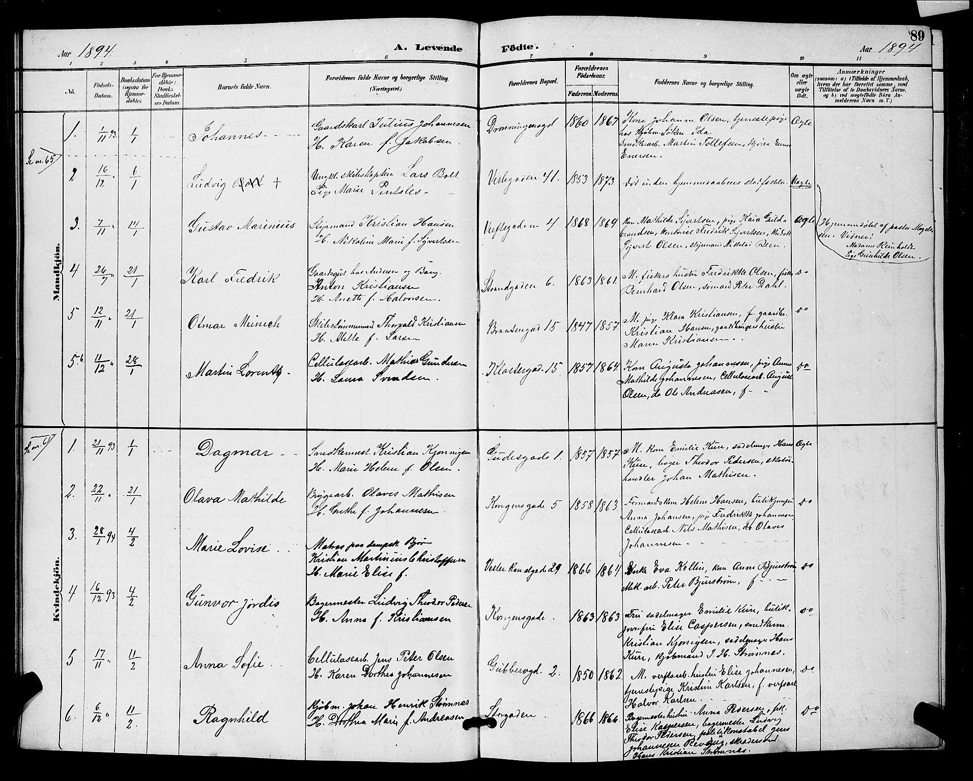 SAO, Moss prestekontor Kirkebøker, G/Ga/L0006: Klokkerbok nr. I 6, 1889-1900, s. 89