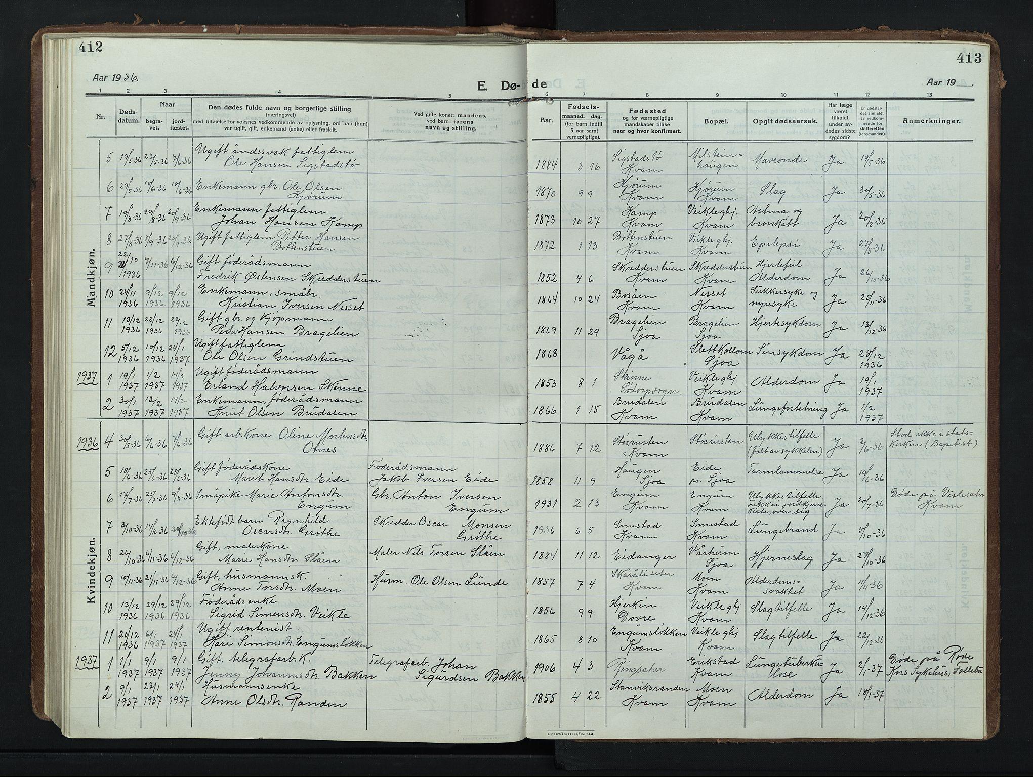 SAH, Nord-Fron prestekontor, Klokkerbok nr. 8, 1915-1948, s. 412-413