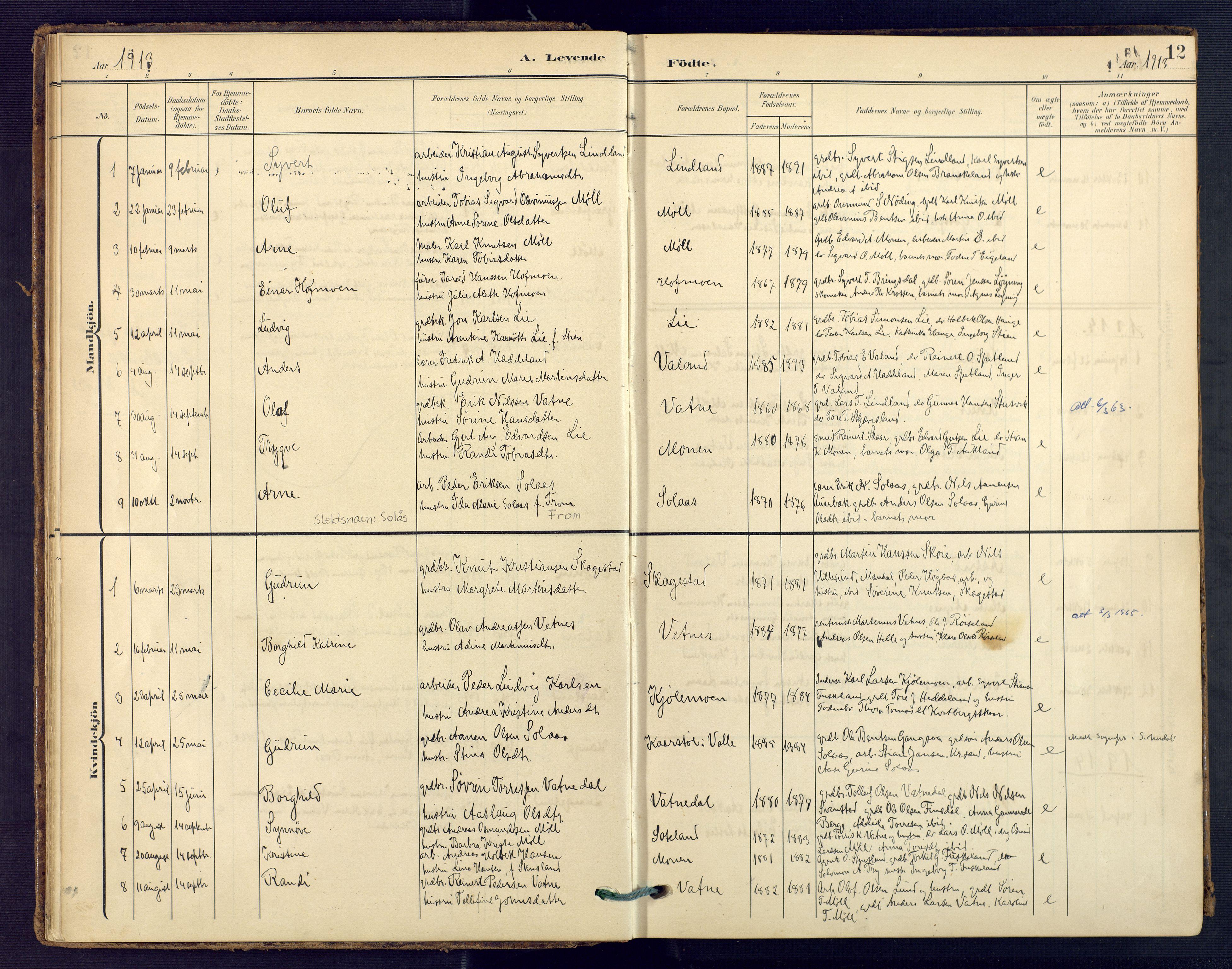 SAK, Holum sokneprestkontor, F/Fa/Faa/L0008: Ministerialbok nr. A 8, 1908-1929, s. 12