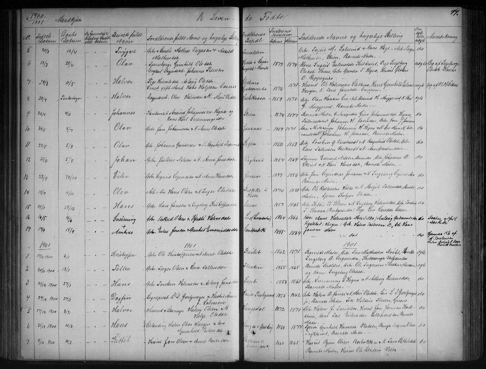 SAKO, Sauherad kirkebøker, G/Ga/L0003: Klokkerbok nr. I 3, 1866-1905, s. 97
