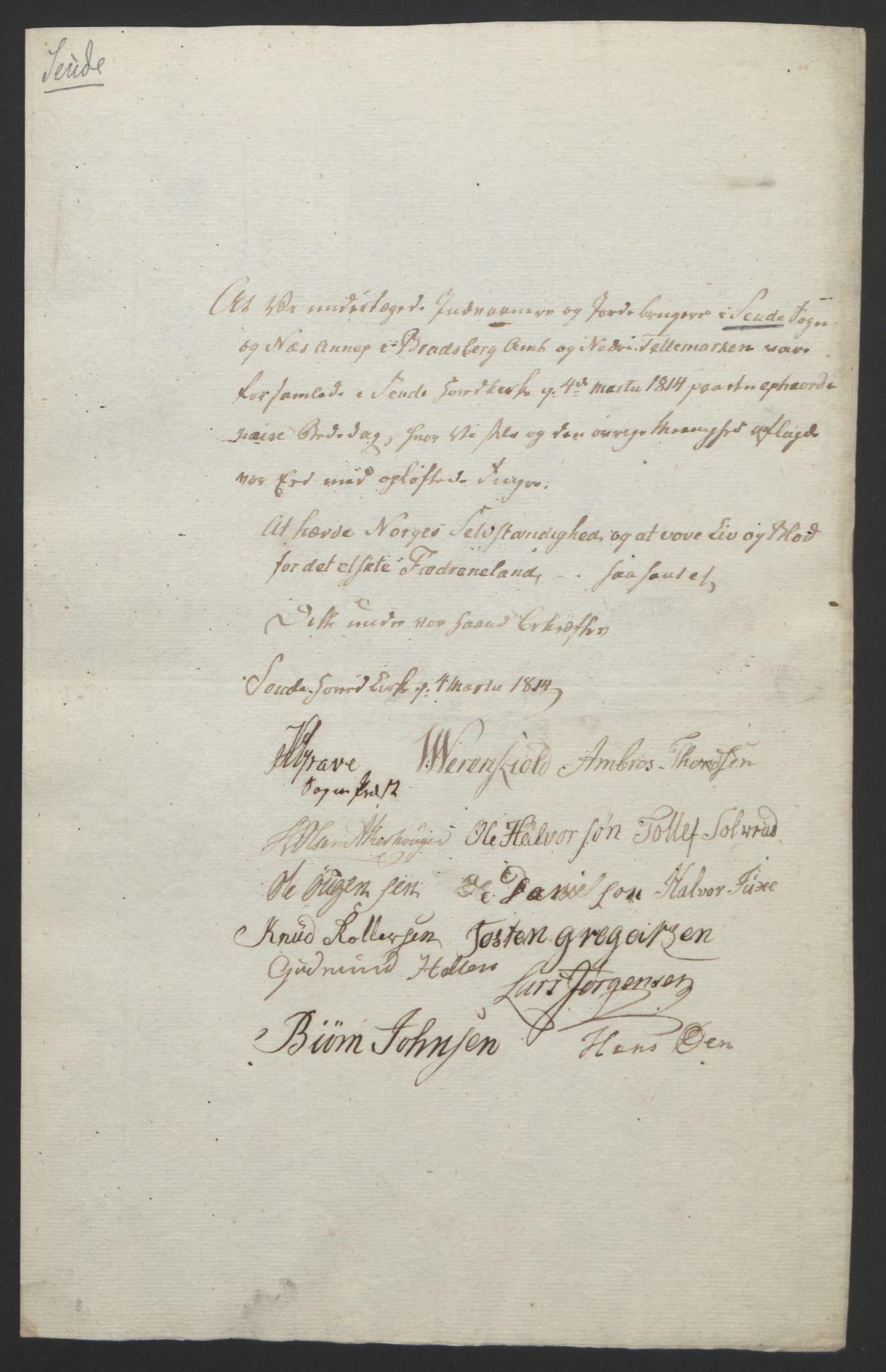 RA, Statsrådssekretariatet, D/Db/L0008: Fullmakter for Eidsvollsrepresentantene i 1814. , 1814, s. 66