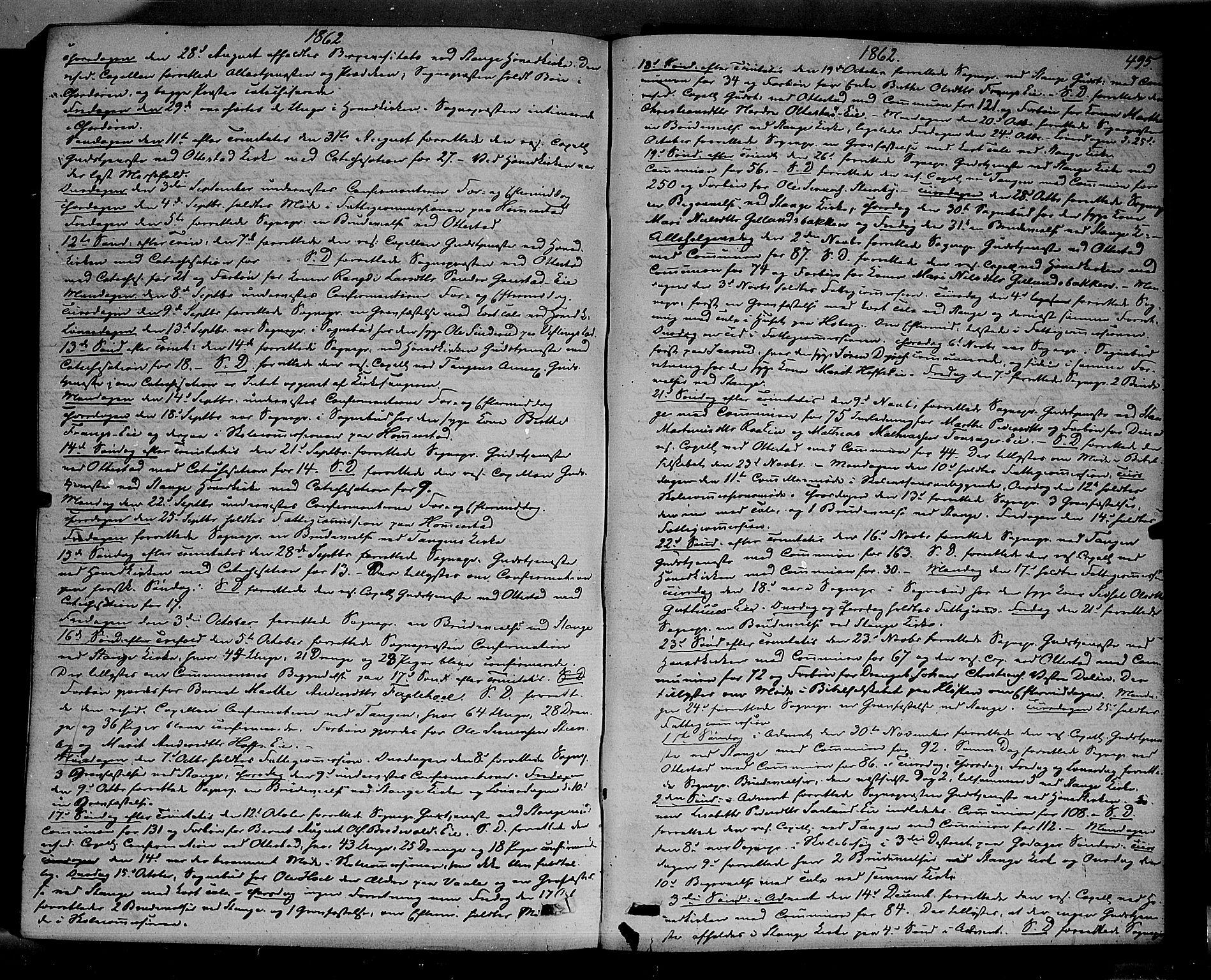 SAH, Stange prestekontor, K/L0013: Ministerialbok nr. 13, 1862-1879, s. 495