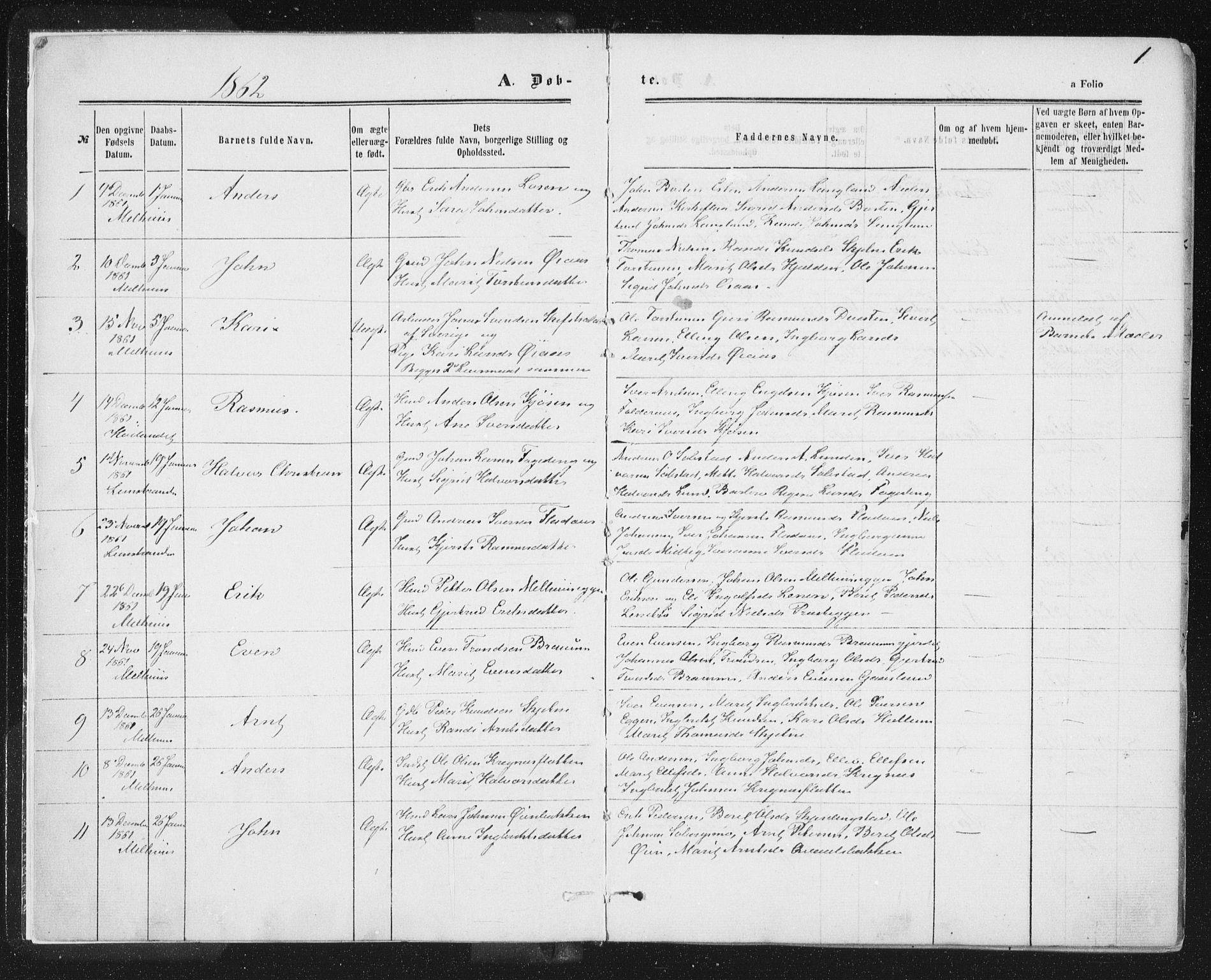SAT, Ministerialprotokoller, klokkerbøker og fødselsregistre - Sør-Trøndelag, 691/L1077: Ministerialbok nr. 691A09, 1862-1873, s. 1