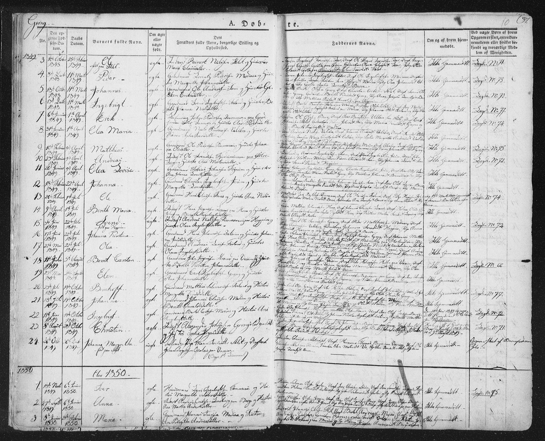 SAT, Ministerialprotokoller, klokkerbøker og fødselsregistre - Nord-Trøndelag, 758/L0513: Ministerialbok nr. 758A02 /1, 1839-1868, s. 10