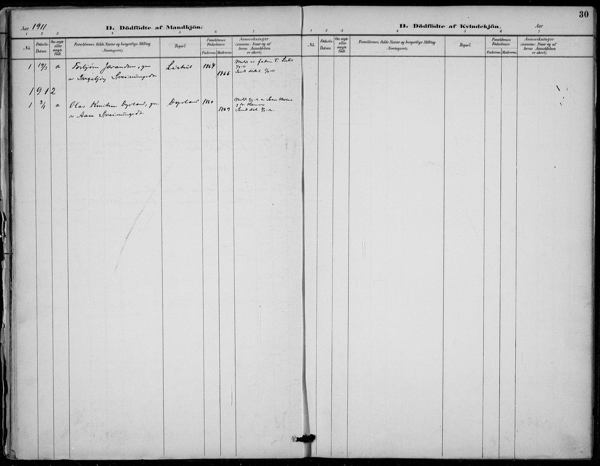 SAKO, Seljord kirkebøker, F/Fc/L0002: Ministerialbok nr. III 2, 1887-1920, s. 30