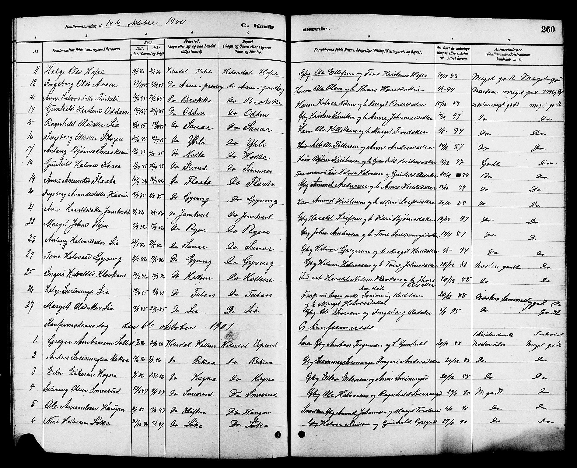 SAKO, Heddal kirkebøker, G/Ga/L0002: Klokkerbok nr. I 2, 1879-1908, s. 260