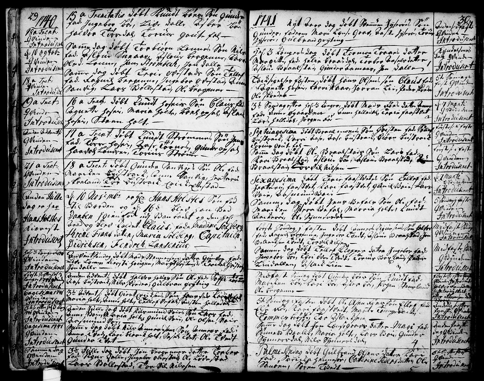 SAKO, Drangedal kirkebøker, F/Fa/L0002: Ministerialbok nr. 2, 1733-1753, s. 29-30
