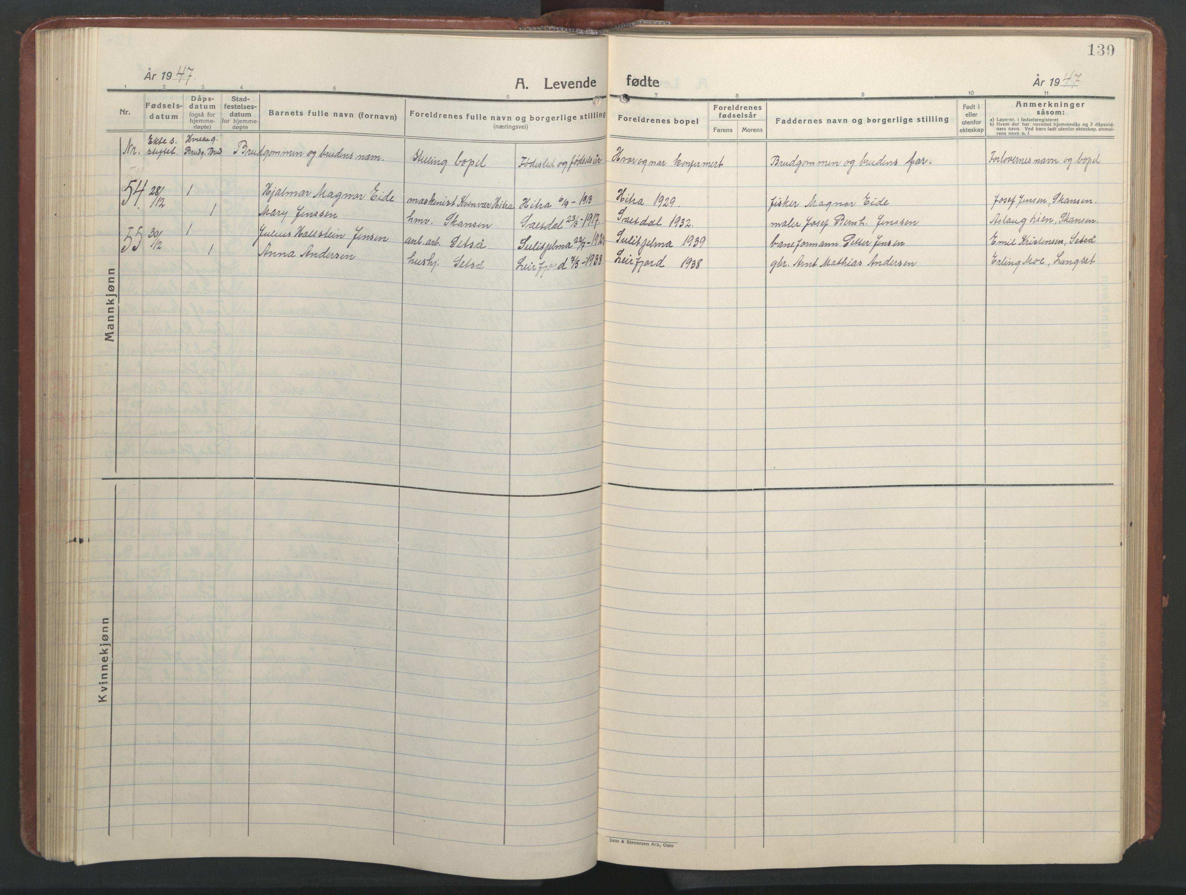 SAT, Ministerialprotokoller, klokkerbøker og fødselsregistre - Nordland, 847/L0680: Klokkerbok nr. 847C08, 1930-1947, s. 139