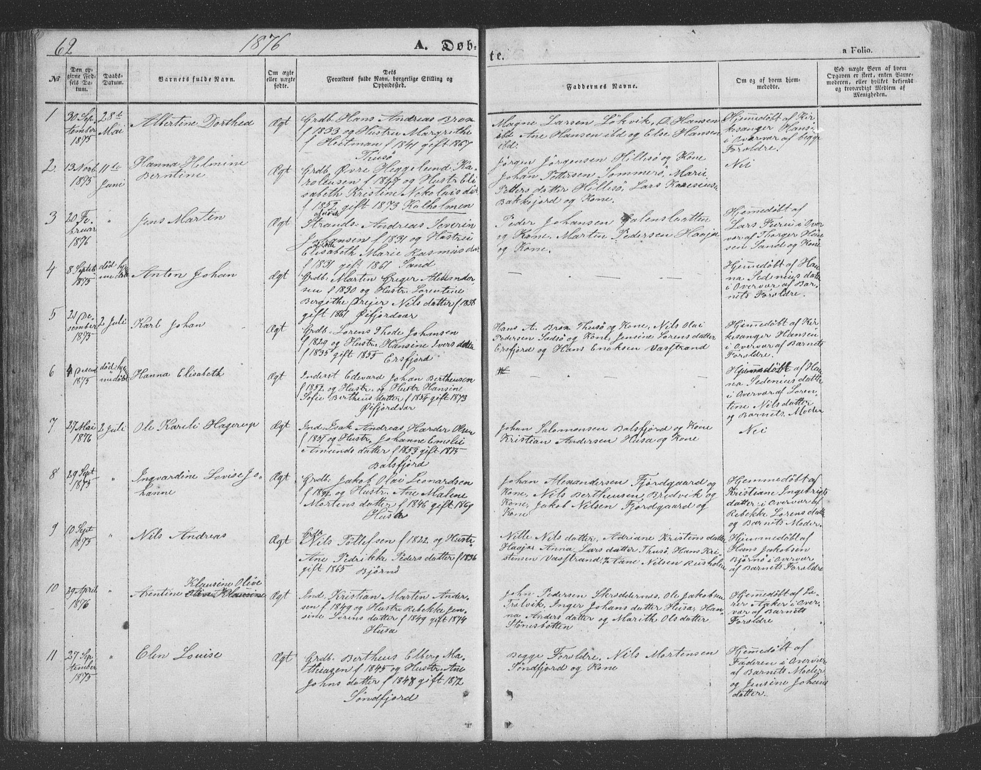 SATØ, Lenvik sokneprestembete, H/Ha: Klokkerbok nr. 20, 1855-1883, s. 62