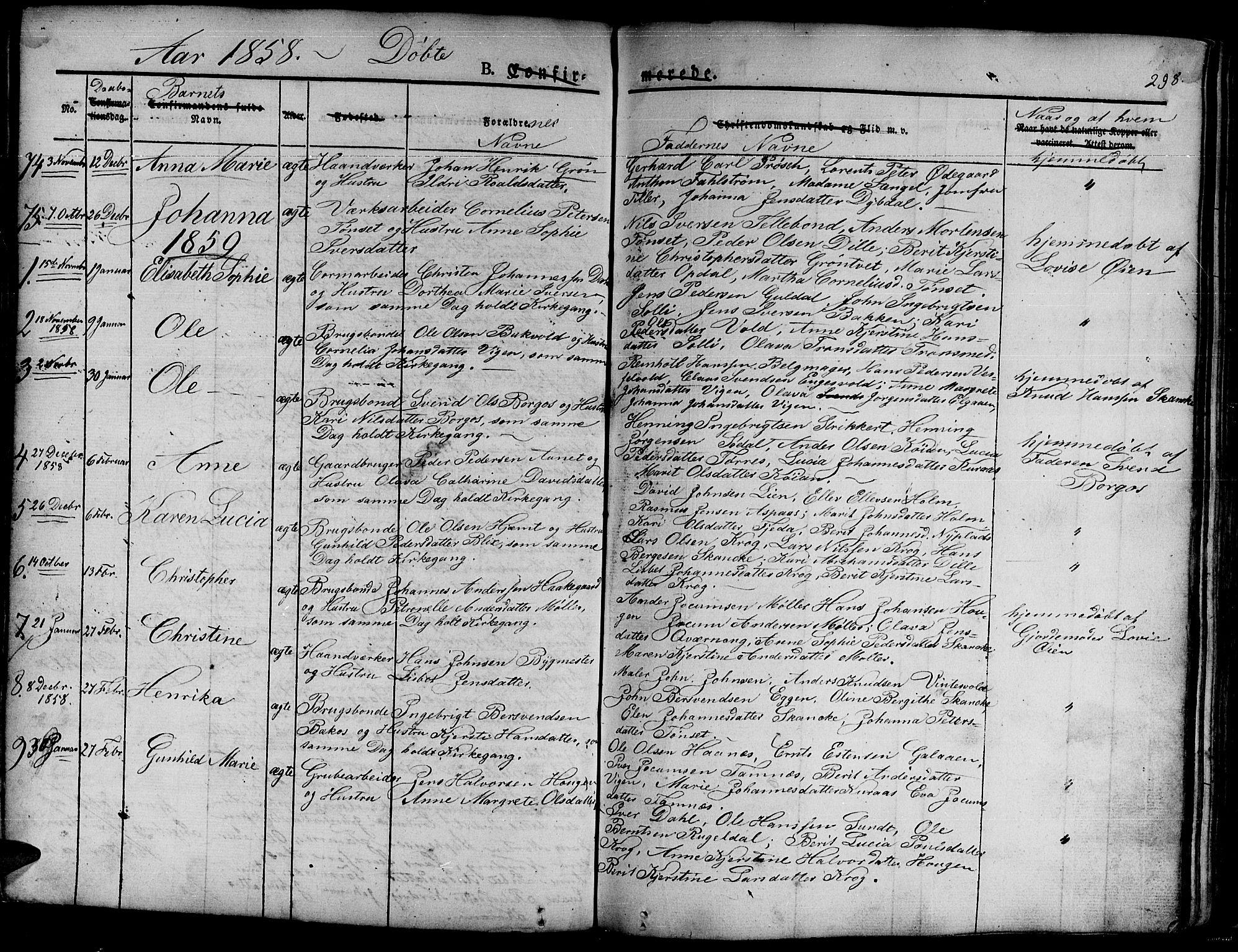 SAT, Ministerialprotokoller, klokkerbøker og fødselsregistre - Sør-Trøndelag, 681/L0938: Klokkerbok nr. 681C02, 1829-1879, s. 298