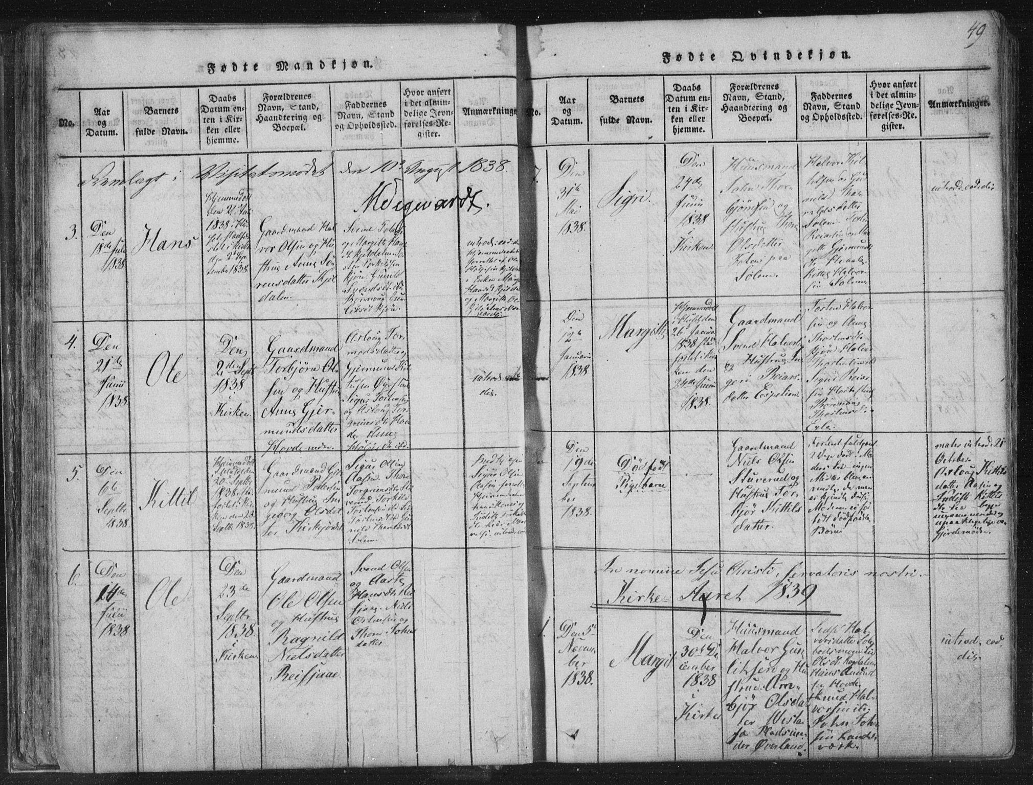 SAKO, Hjartdal kirkebøker, F/Fc/L0001: Ministerialbok nr. III 1, 1815-1843, s. 49