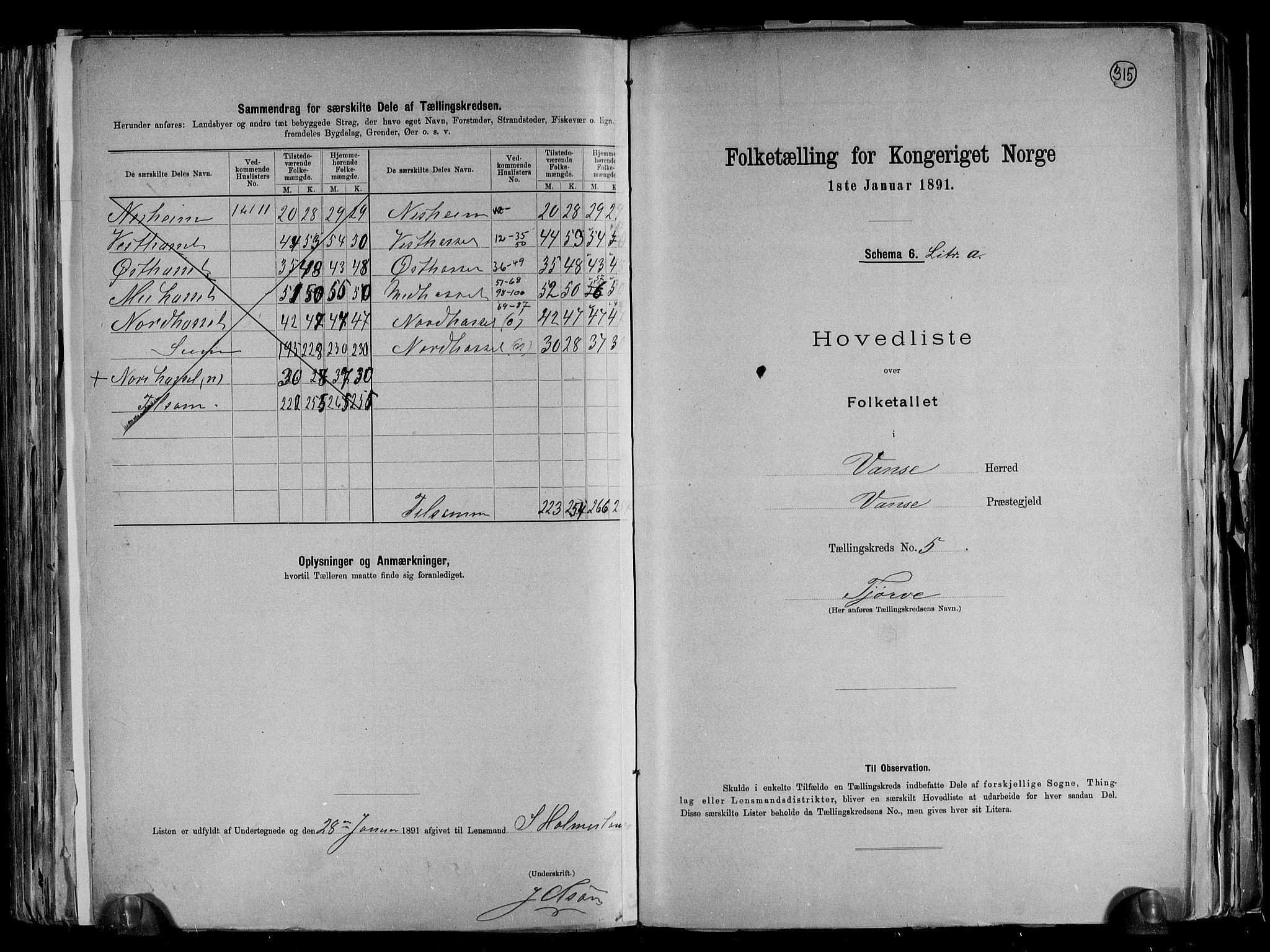 RA, Folketelling 1891 for 1041 Vanse herred, 1891, s. 22