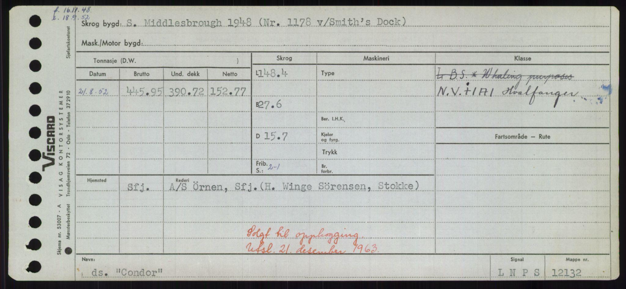 RA, Sjøfartsdirektoratet med forløpere, Skipsmålingen, H/Hd/L0008: Fartøy, C-D, s. 187