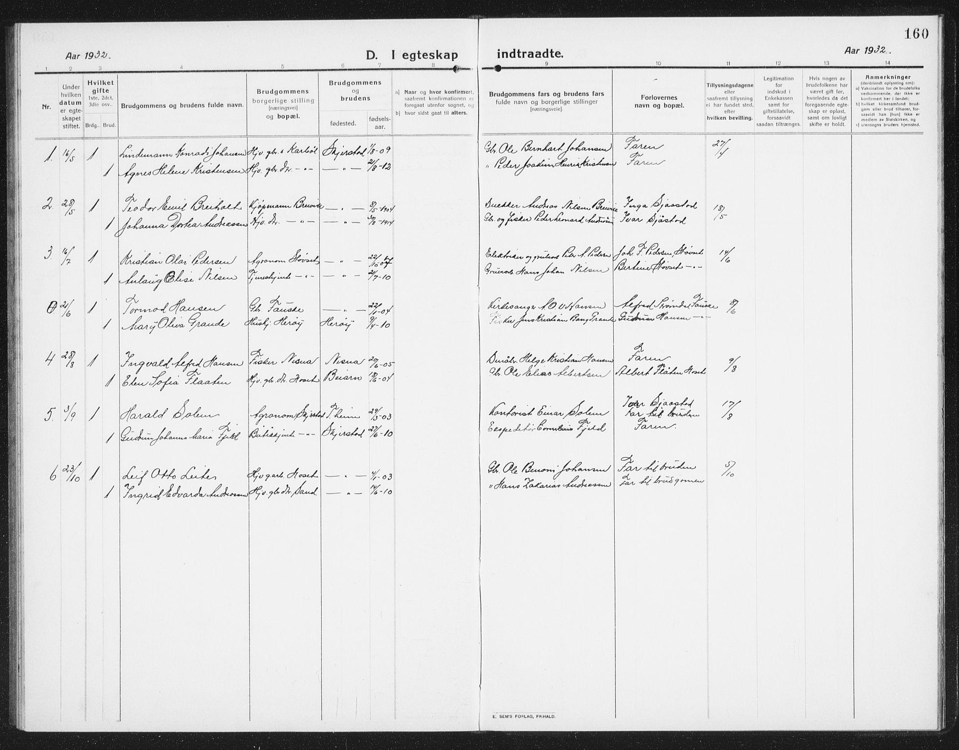 SAT, Ministerialprotokoller, klokkerbøker og fødselsregistre - Nordland, 852/L0757: Klokkerbok nr. 852C08, 1916-1934, s. 160