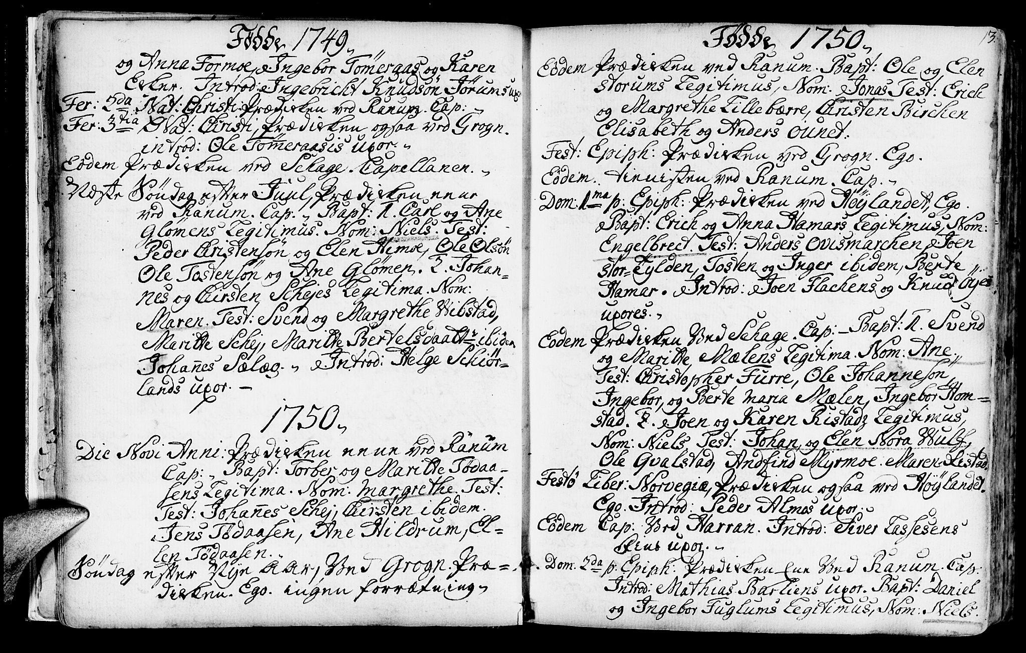 SAT, Ministerialprotokoller, klokkerbøker og fødselsregistre - Nord-Trøndelag, 764/L0542: Ministerialbok nr. 764A02, 1748-1779, s. 13